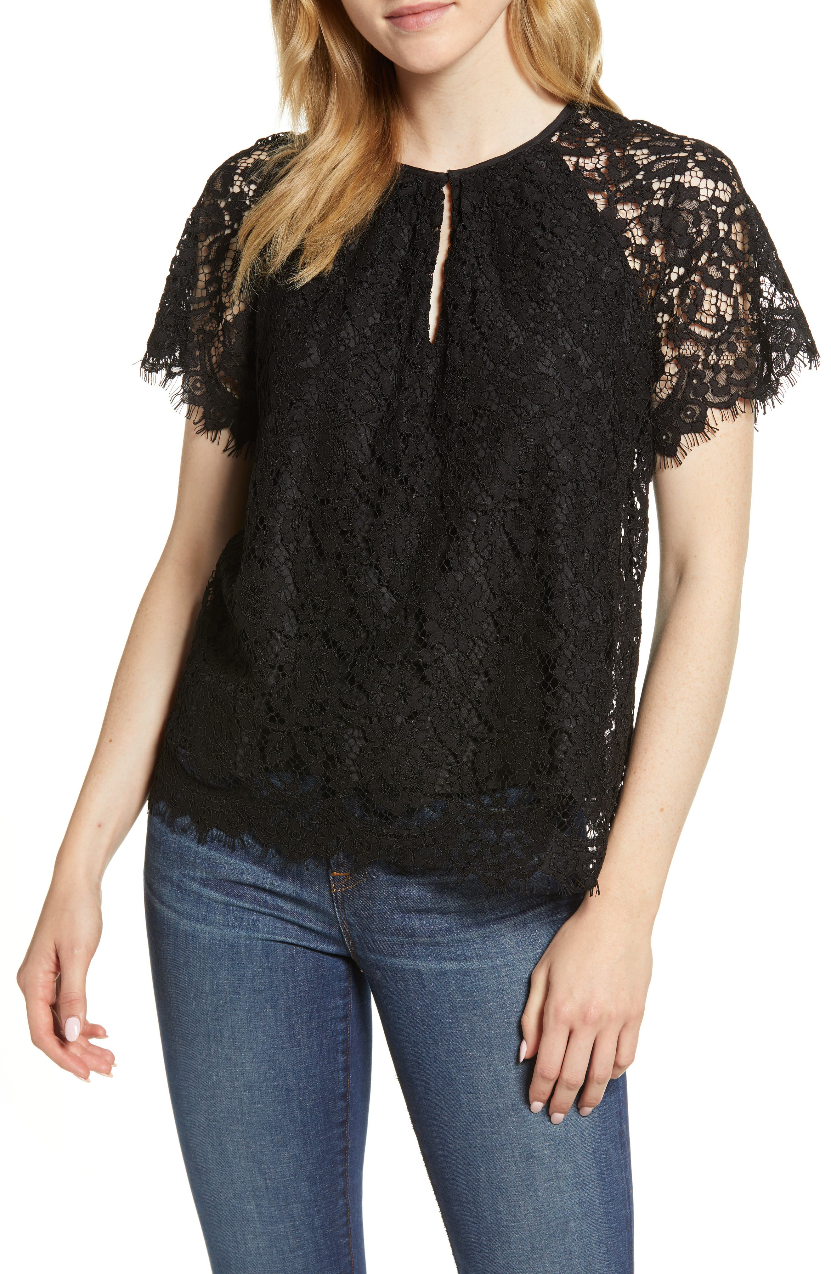 J.CREW,                             Short Sleeve Lace Top,                             Main thumbnail 1, color,                             001