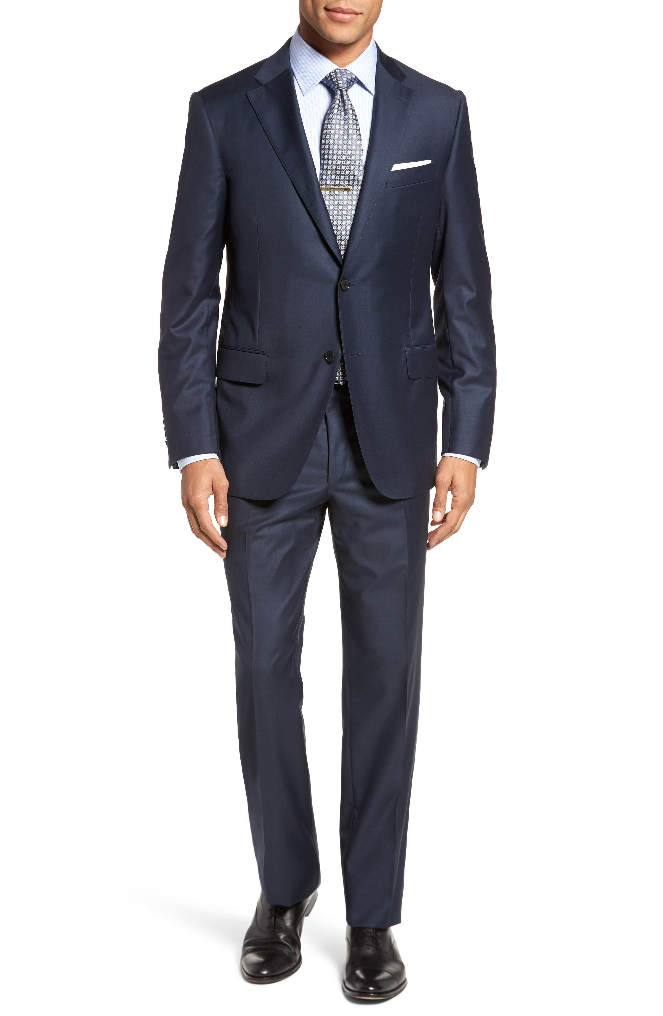 Modern H Fit Solid Loro Piana Wool Suit,                         Main,                         color, NAVY SHARKSKIN