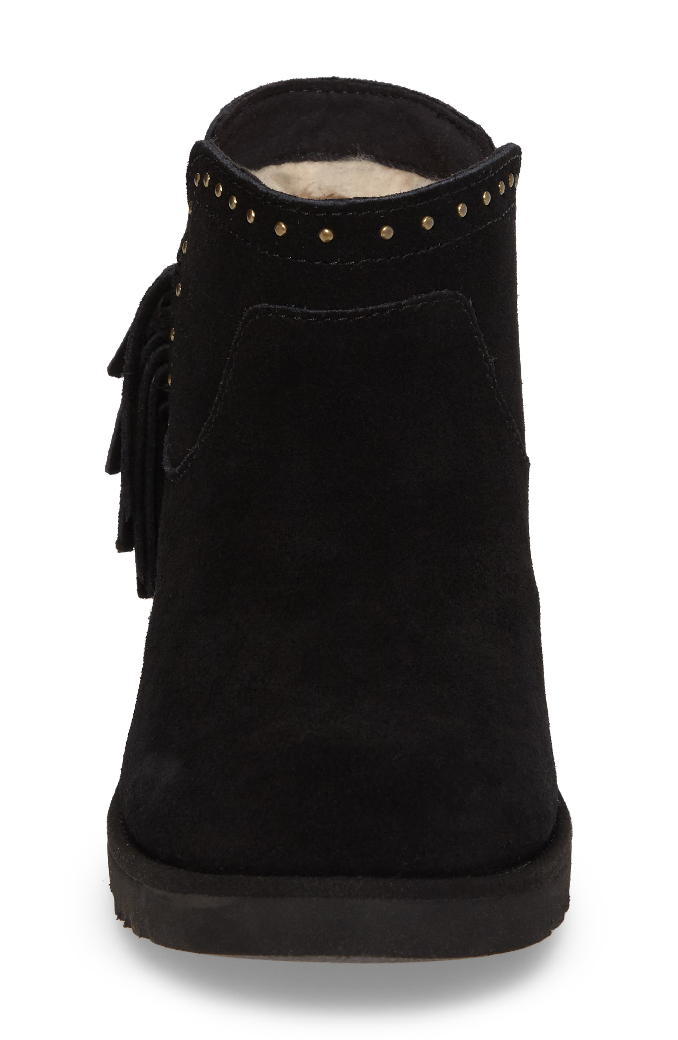 Cindy Water-Resistant Genuine Shearling Studded Bootie,                             Alternate thumbnail 4, color,                             001