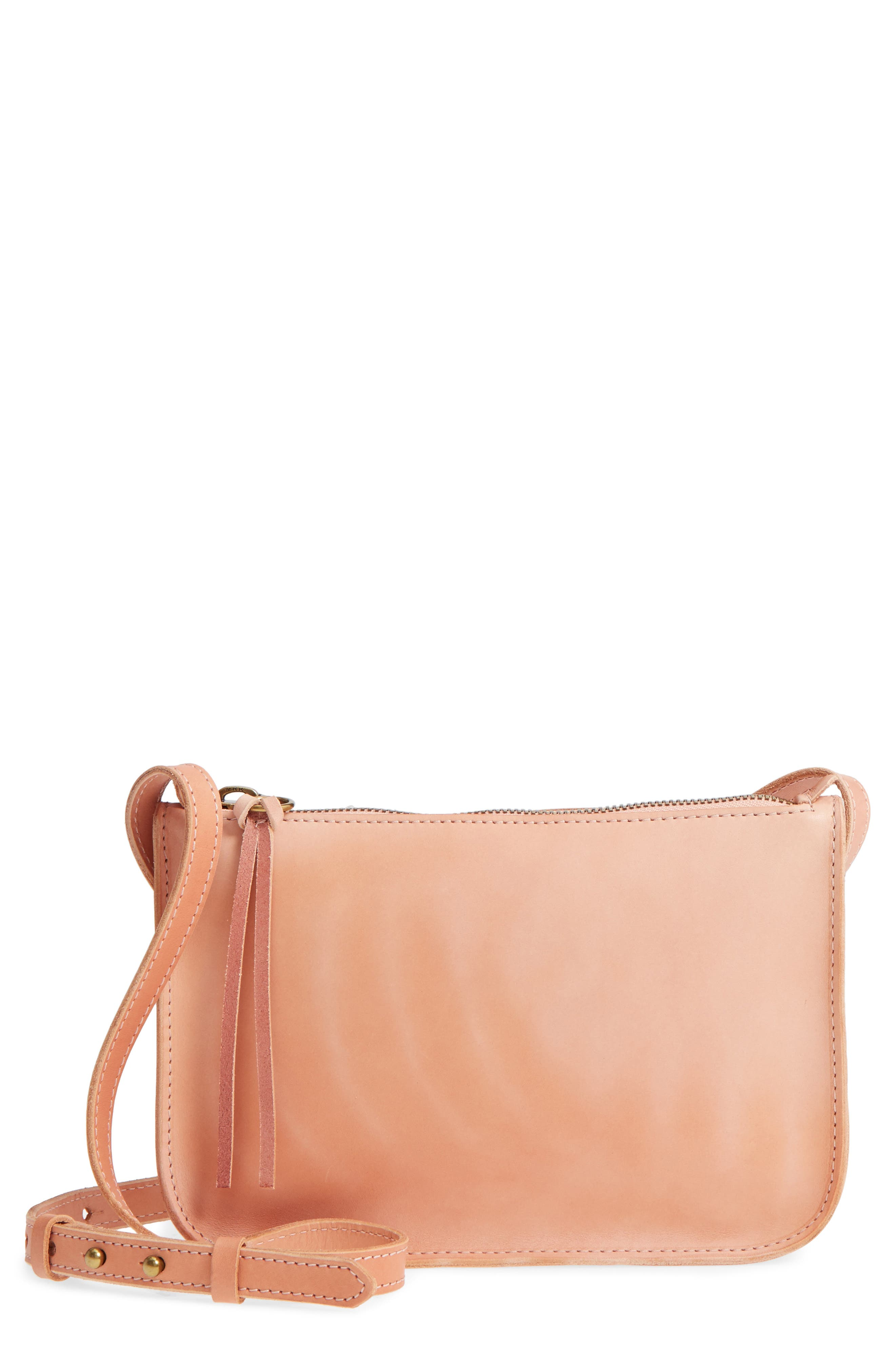 Simple Leather Crossbody Bag,                             Main thumbnail 1, color,                             PETAL PINK