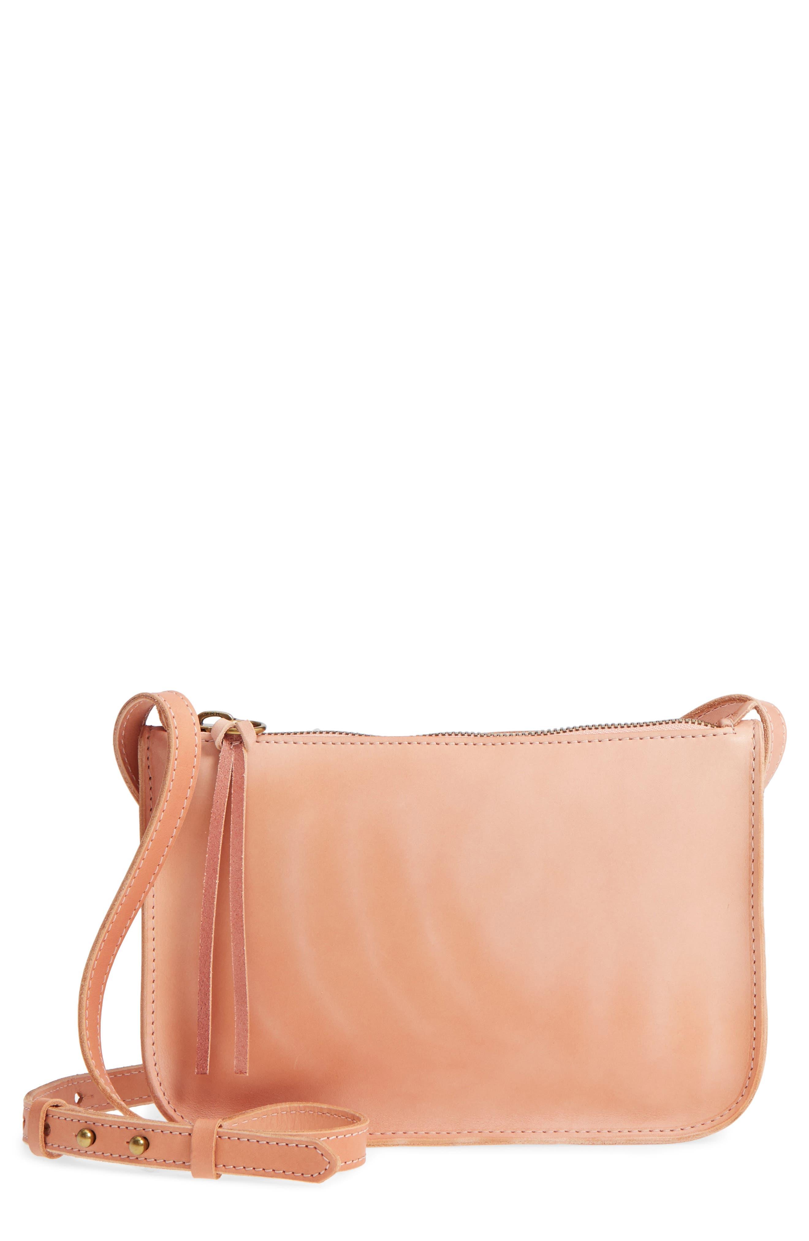 Simple Leather Crossbody Bag,                         Main,                         color, PETAL PINK