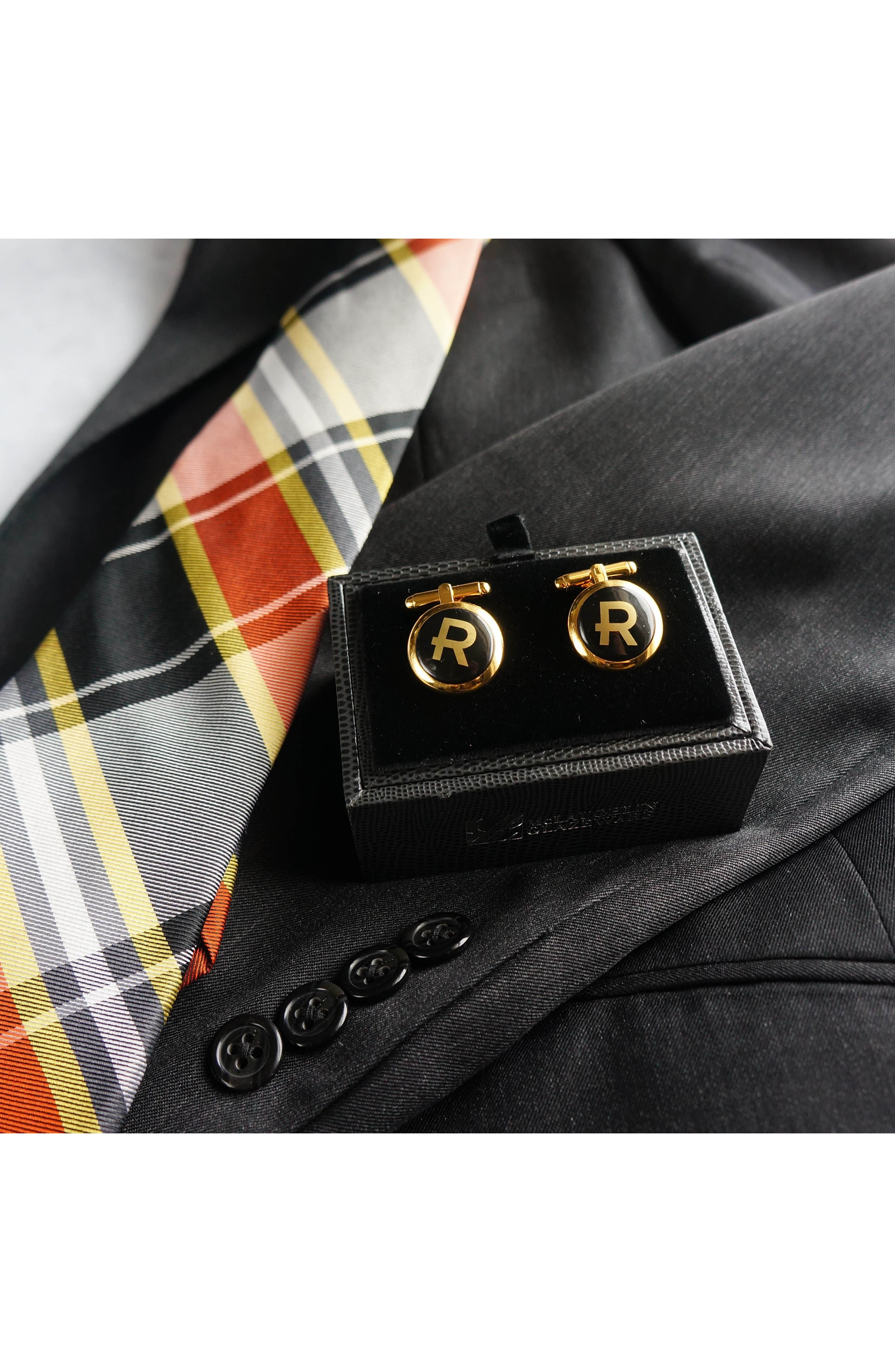 Brooklyn Initial Cuff Links,                             Alternate thumbnail 2, color,                             710