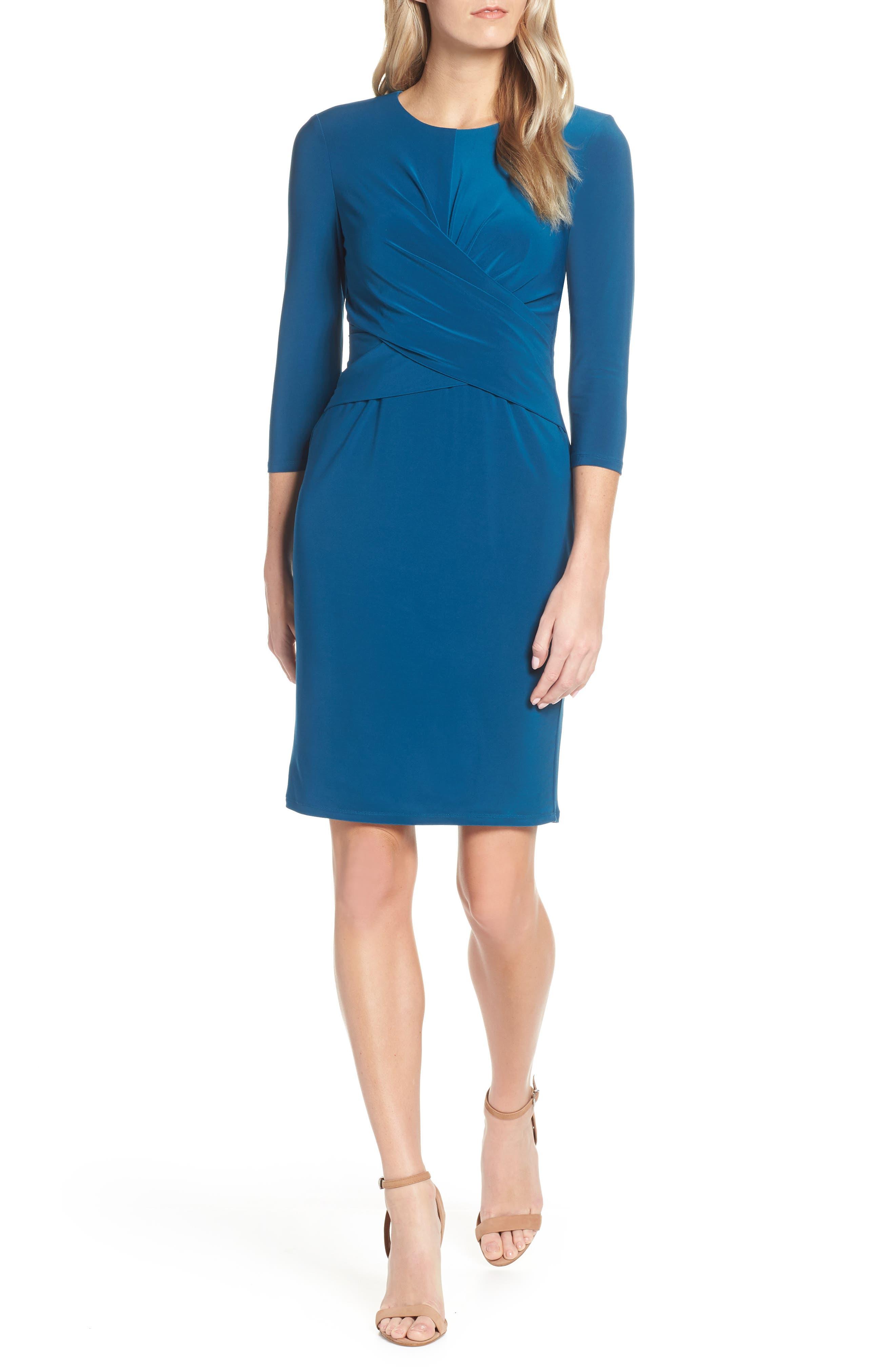 Eliza J Ruched Jersey Sheath Dress, Blue/green