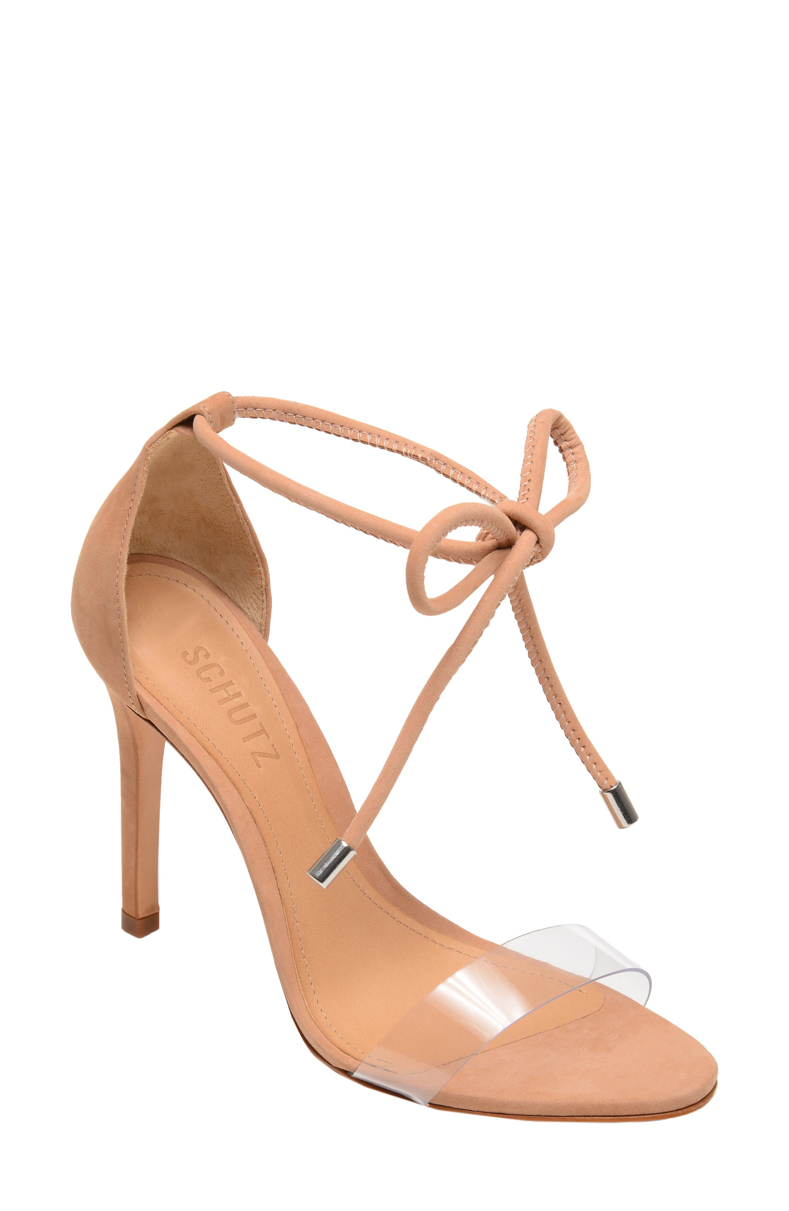 Shutz Monique Ankle Tie Sandal,                         Main,                         color, TRANSPARENT/ HONEY BEIGE