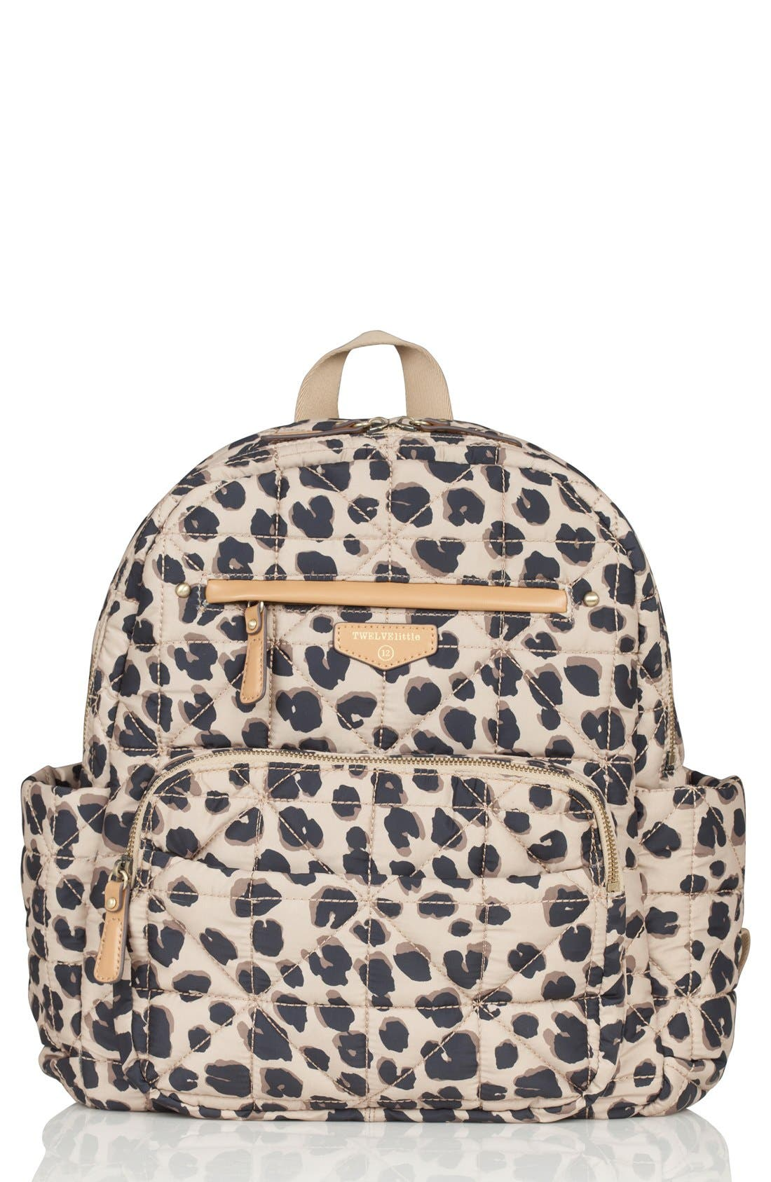 Quilted Water Resistant Nylon Diaper Backpack,                         Main,                         color, LEOPARD PRINT