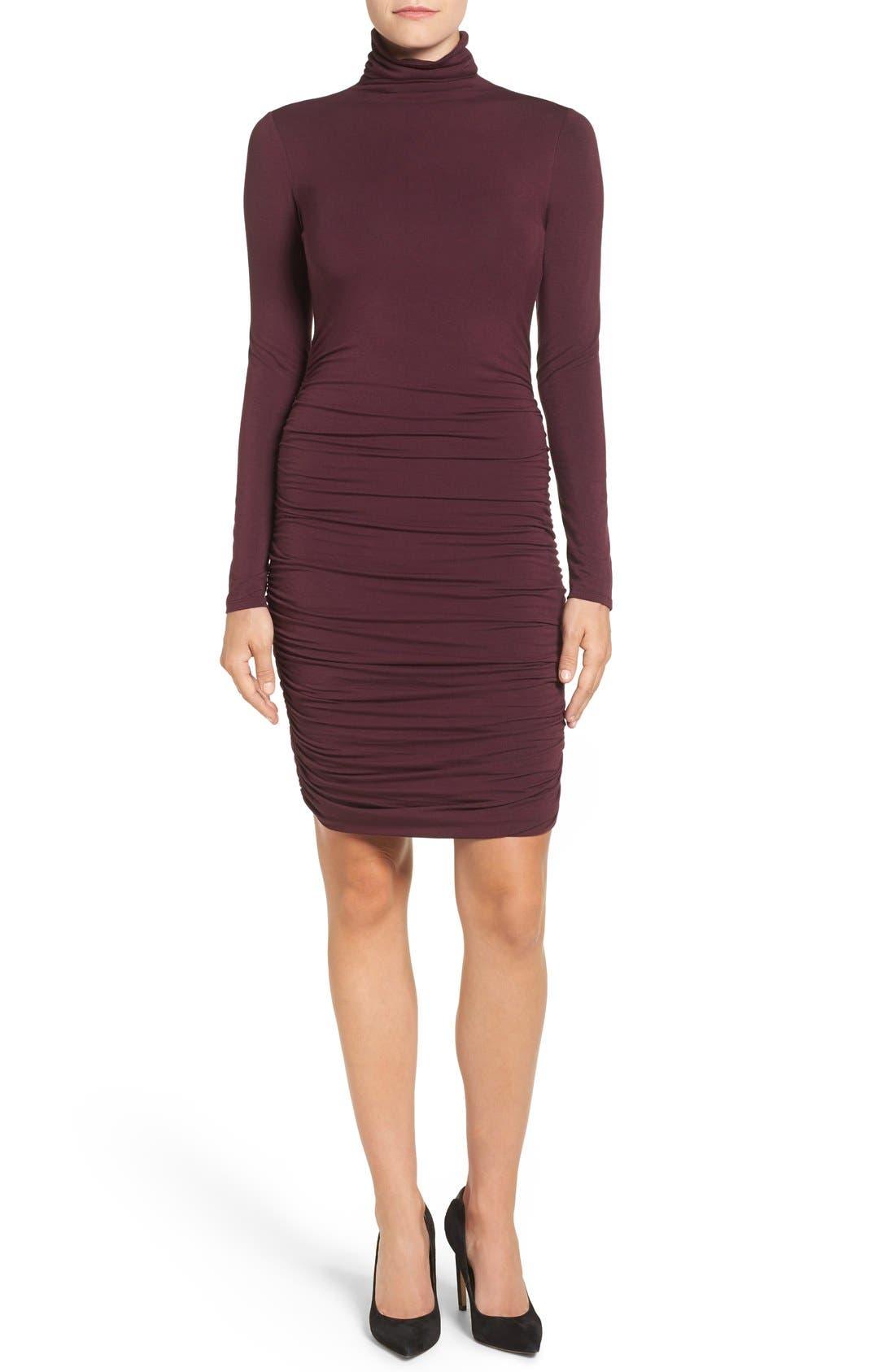 Side Ruched Turtleneck Dress,                             Main thumbnail 4, color,