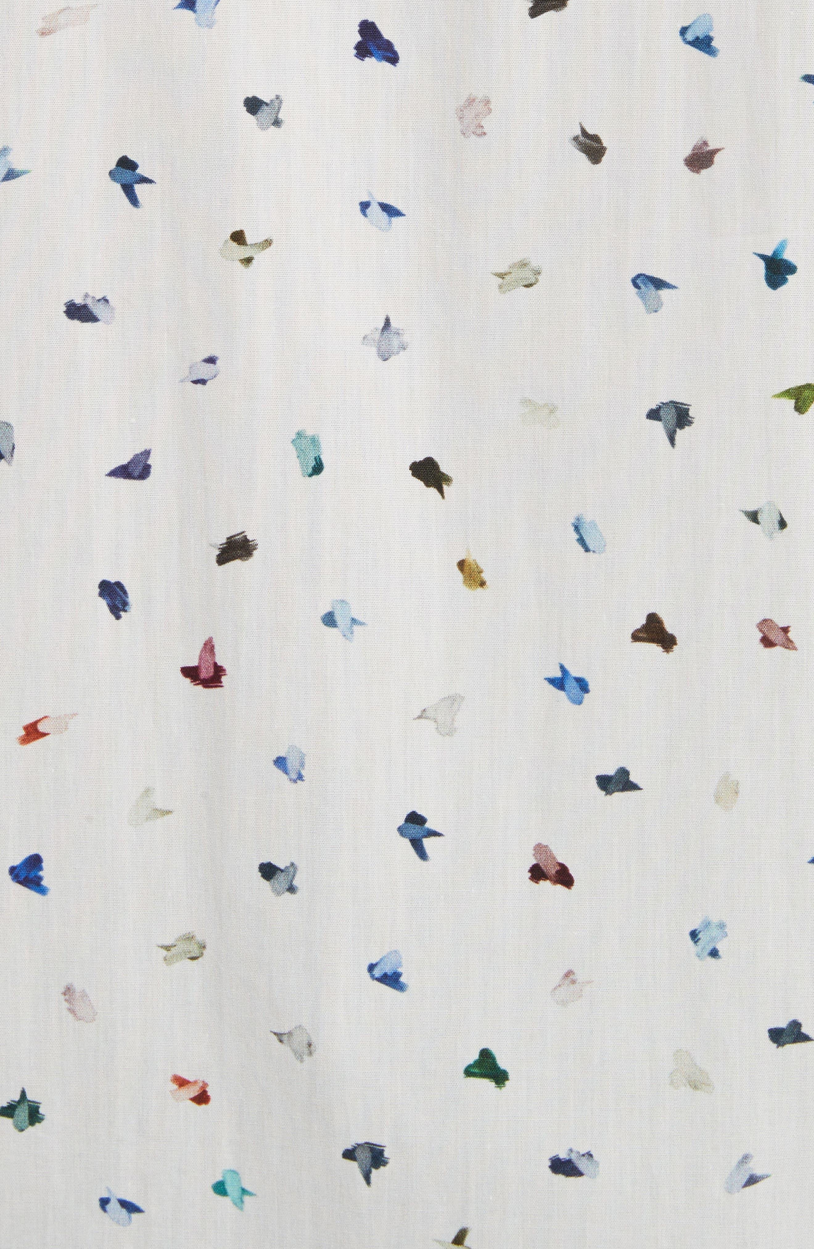Mini Bird Print Woven Shirt,                             Alternate thumbnail 5, color,                             100