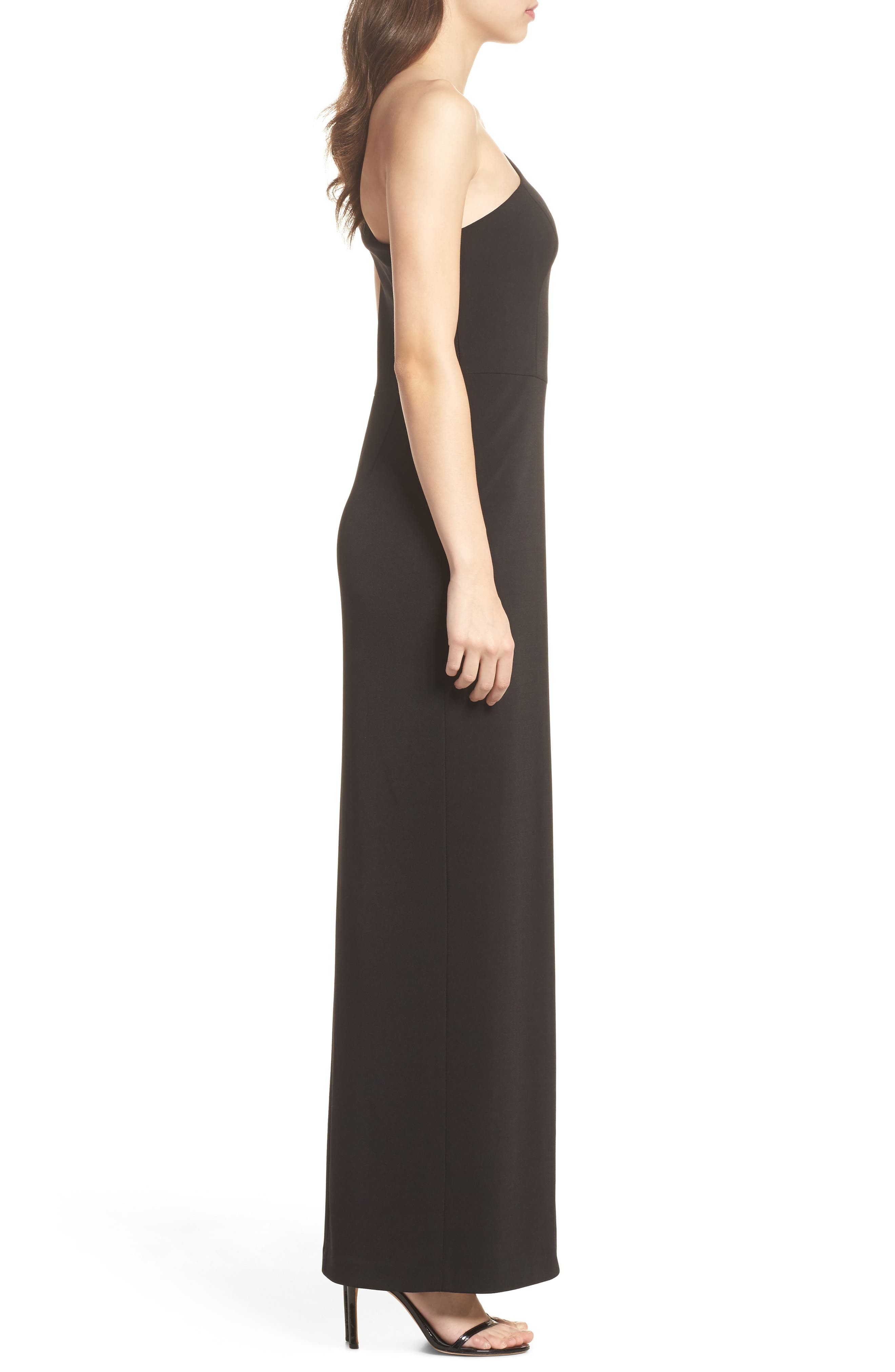 One-Shoulder Crepe Column Gown,                             Alternate thumbnail 3, color,