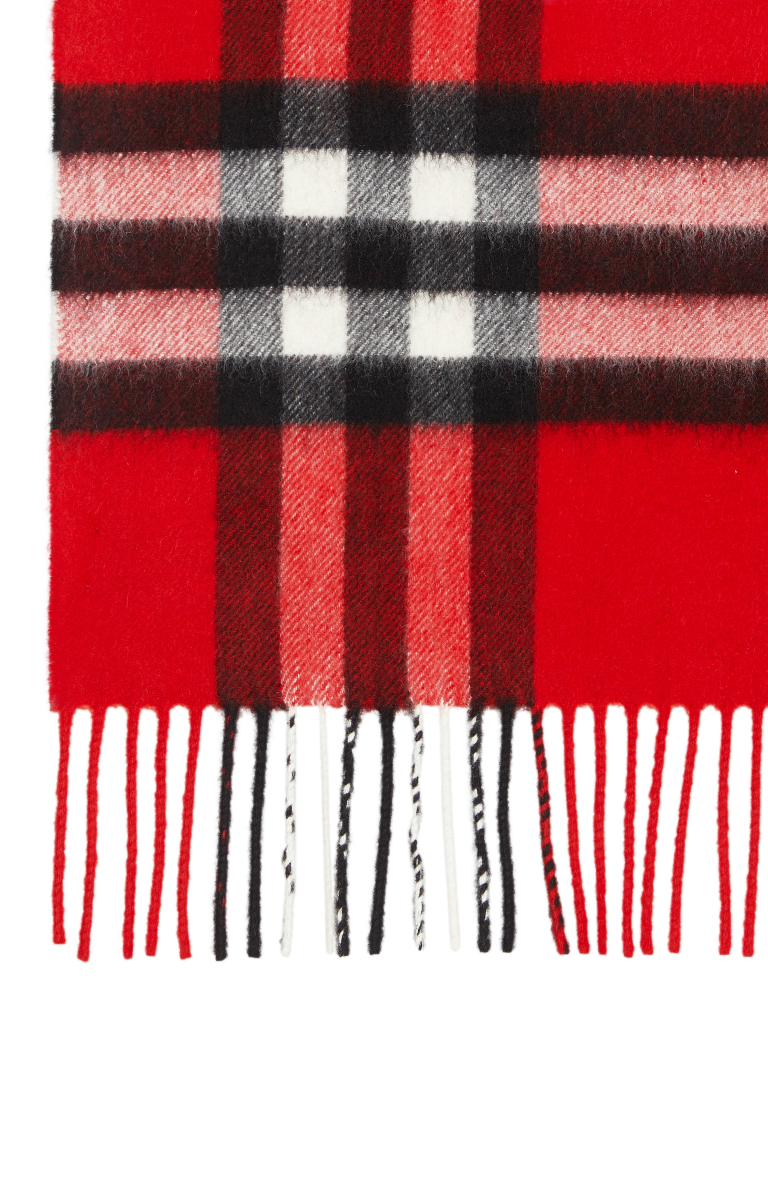 BURBERRY,                             Giant Check Cashmere Scarf,                             Alternate thumbnail 2, color,                             BRIGHT MILITARY RED