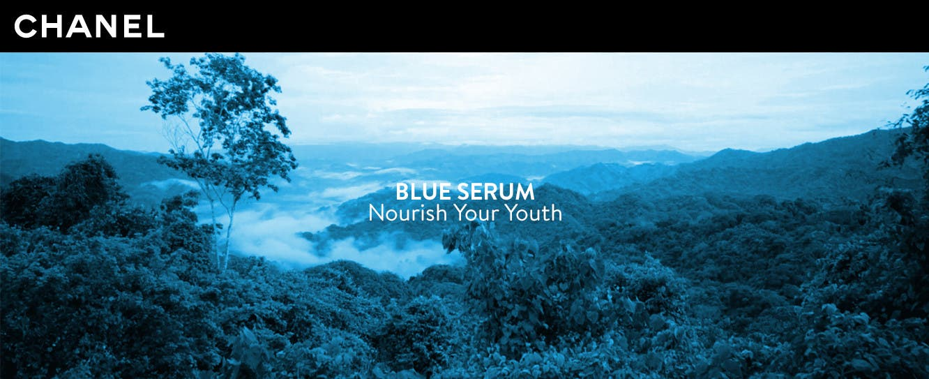 CHANEL BLUE SERUM. Nourish your youth.