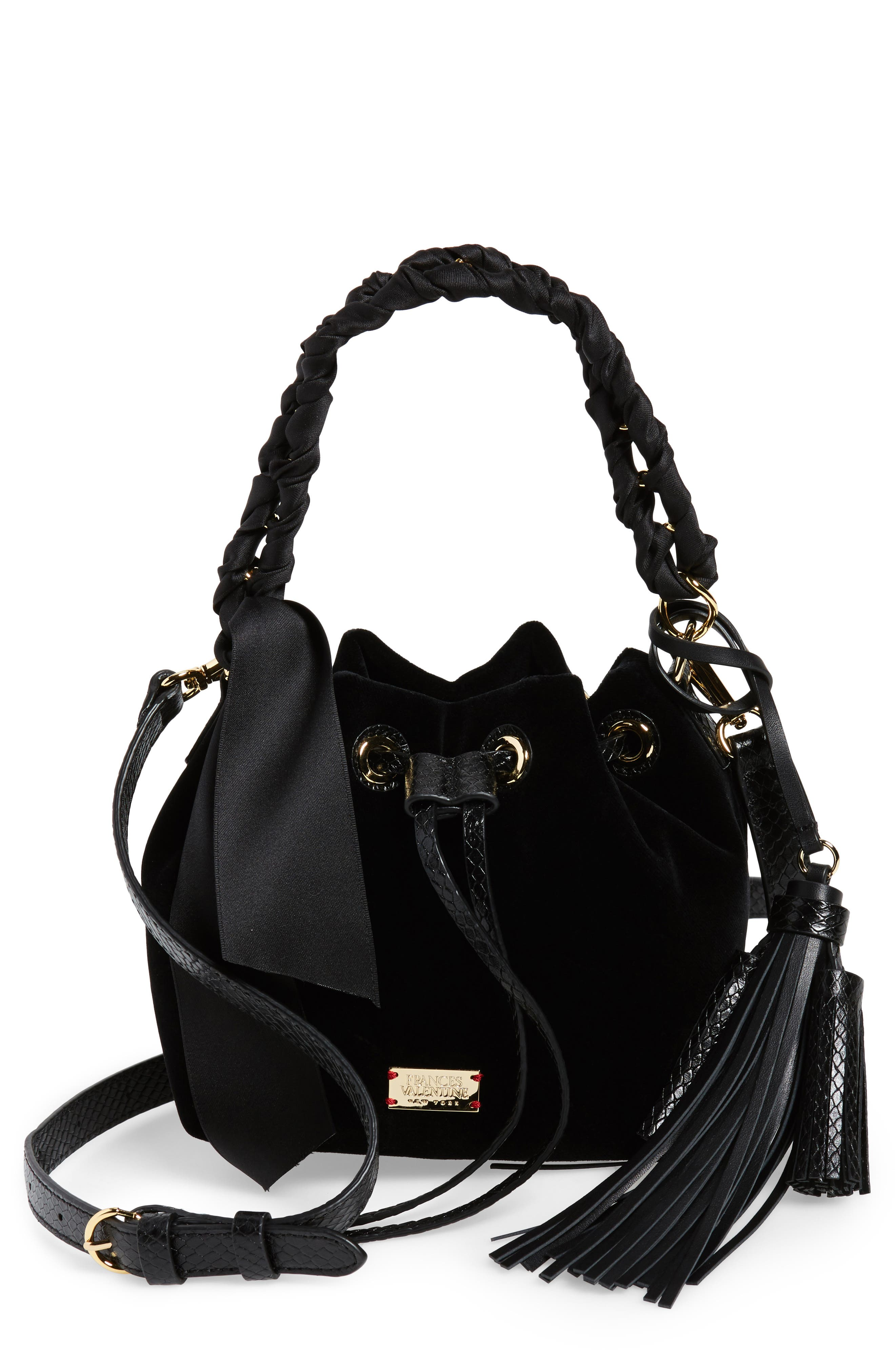 Small Velvet Bucket Bag,                         Main,                         color, 001