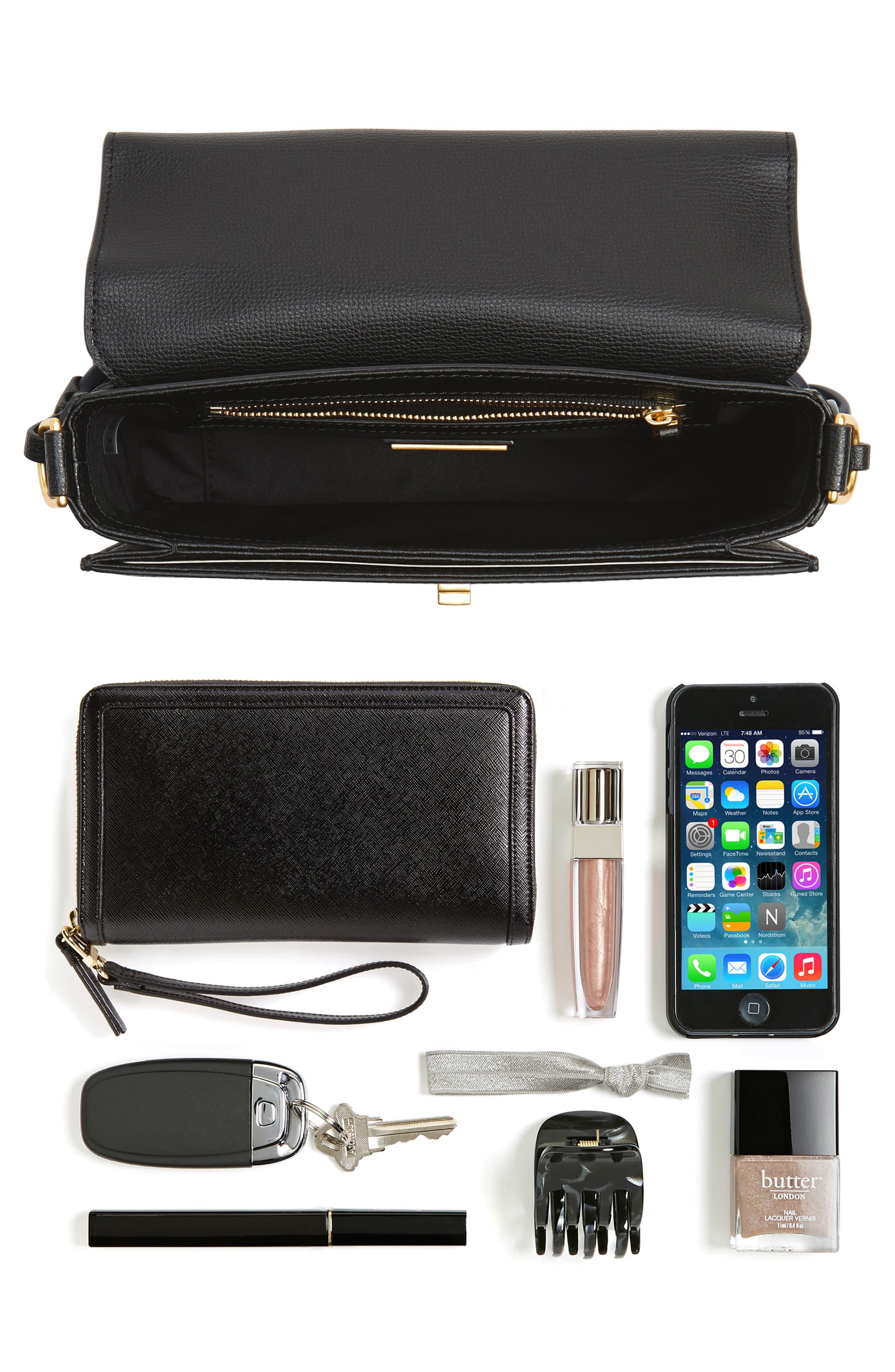 Kira Leather Shoulder Bag,                             Alternate thumbnail 8, color,                             BLACK