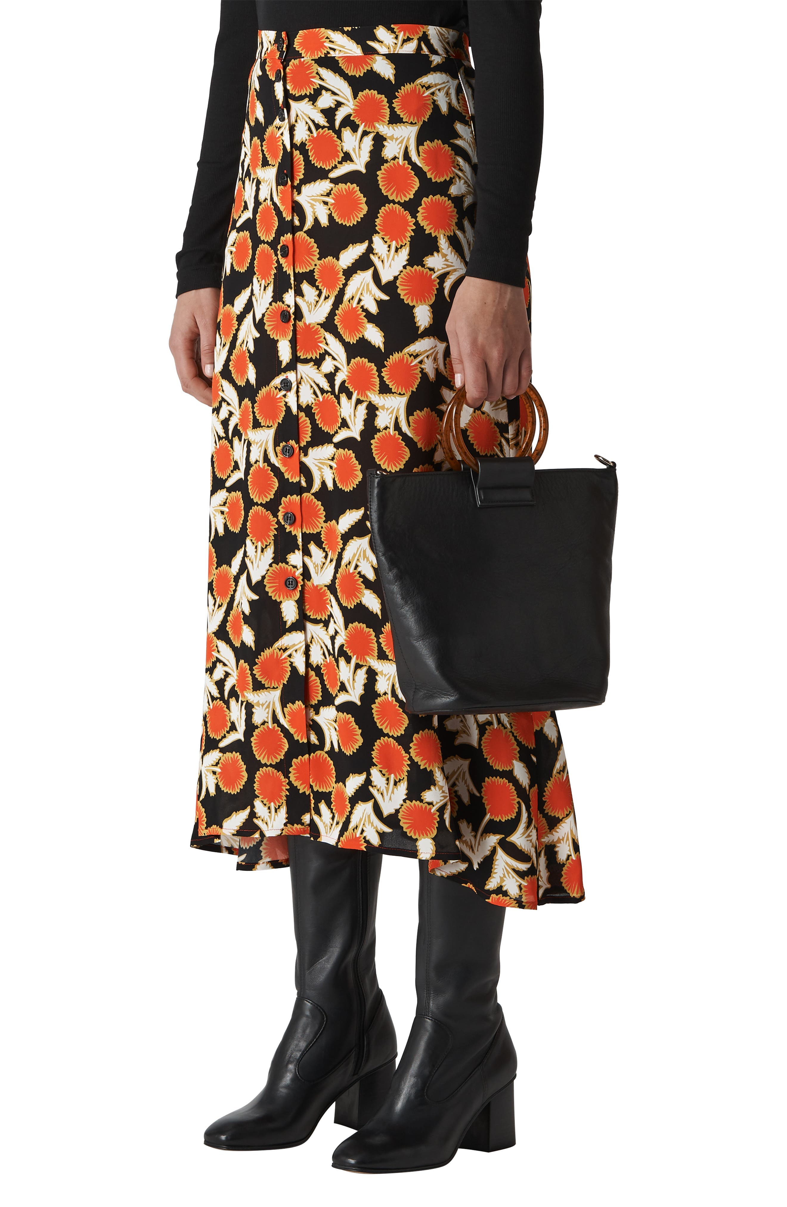 Dandelion Print Maxi Skirt,                             Main thumbnail 1, color,                             MULTICOLOUR