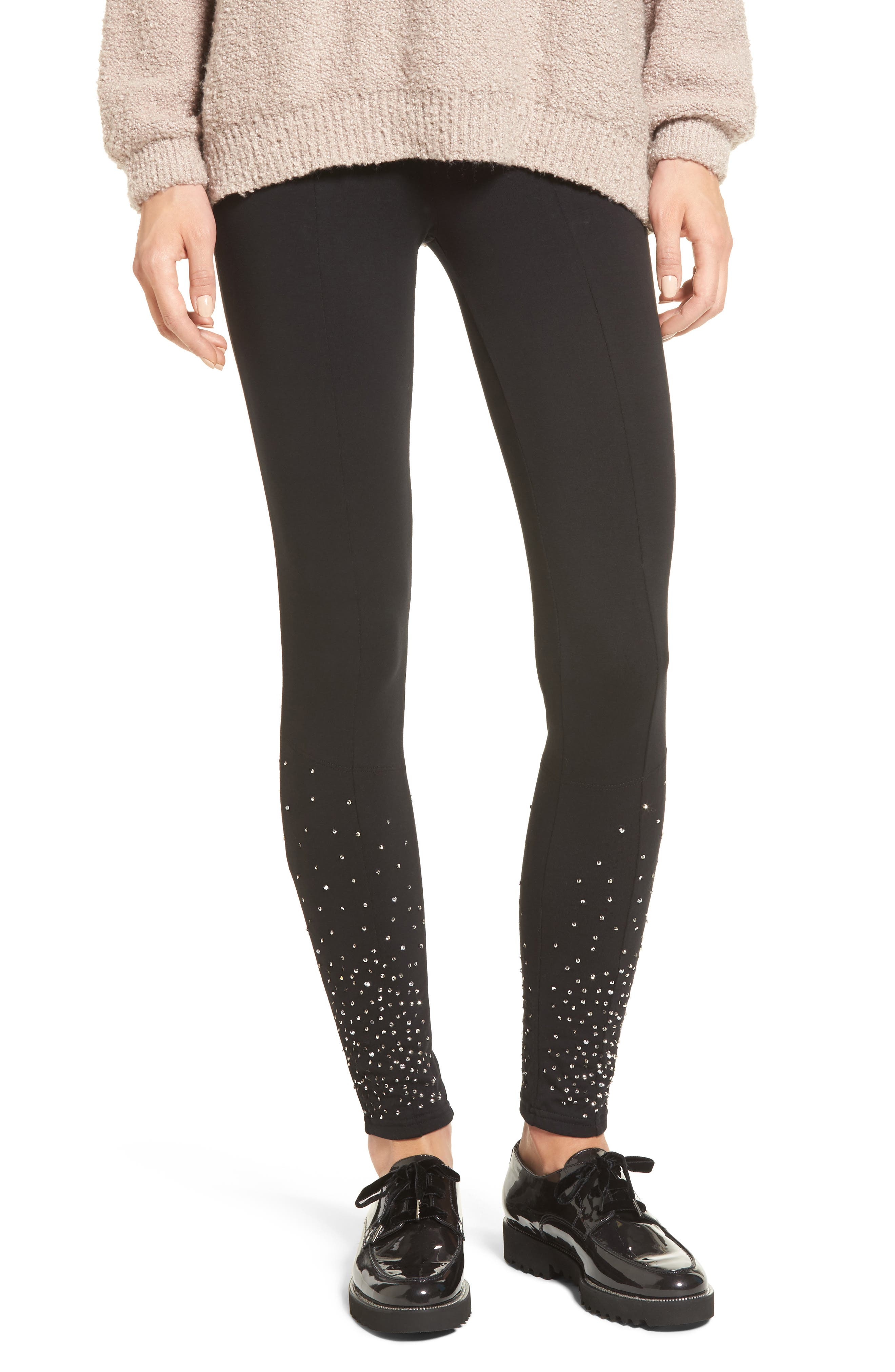 Sequin Embellished Leggings,                             Main thumbnail 1, color,                             001