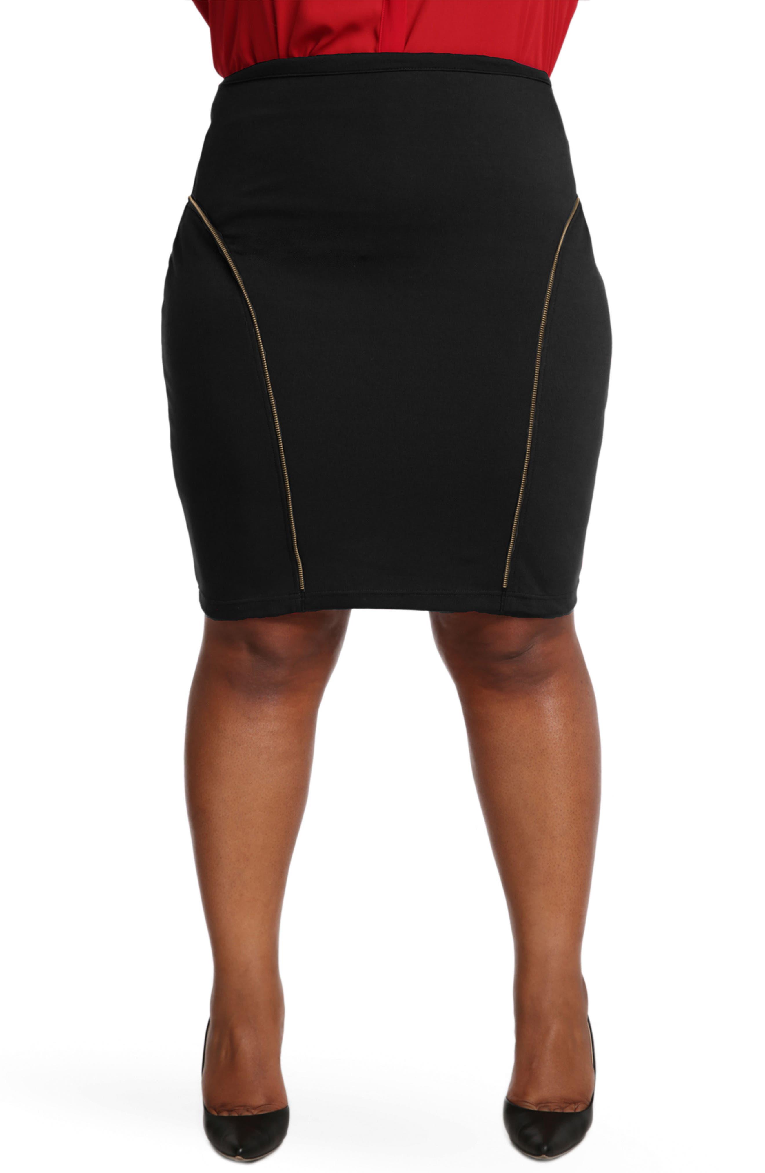 Plus Size Poetic Justice Tiffy Ponte Knit Pencil Skirt