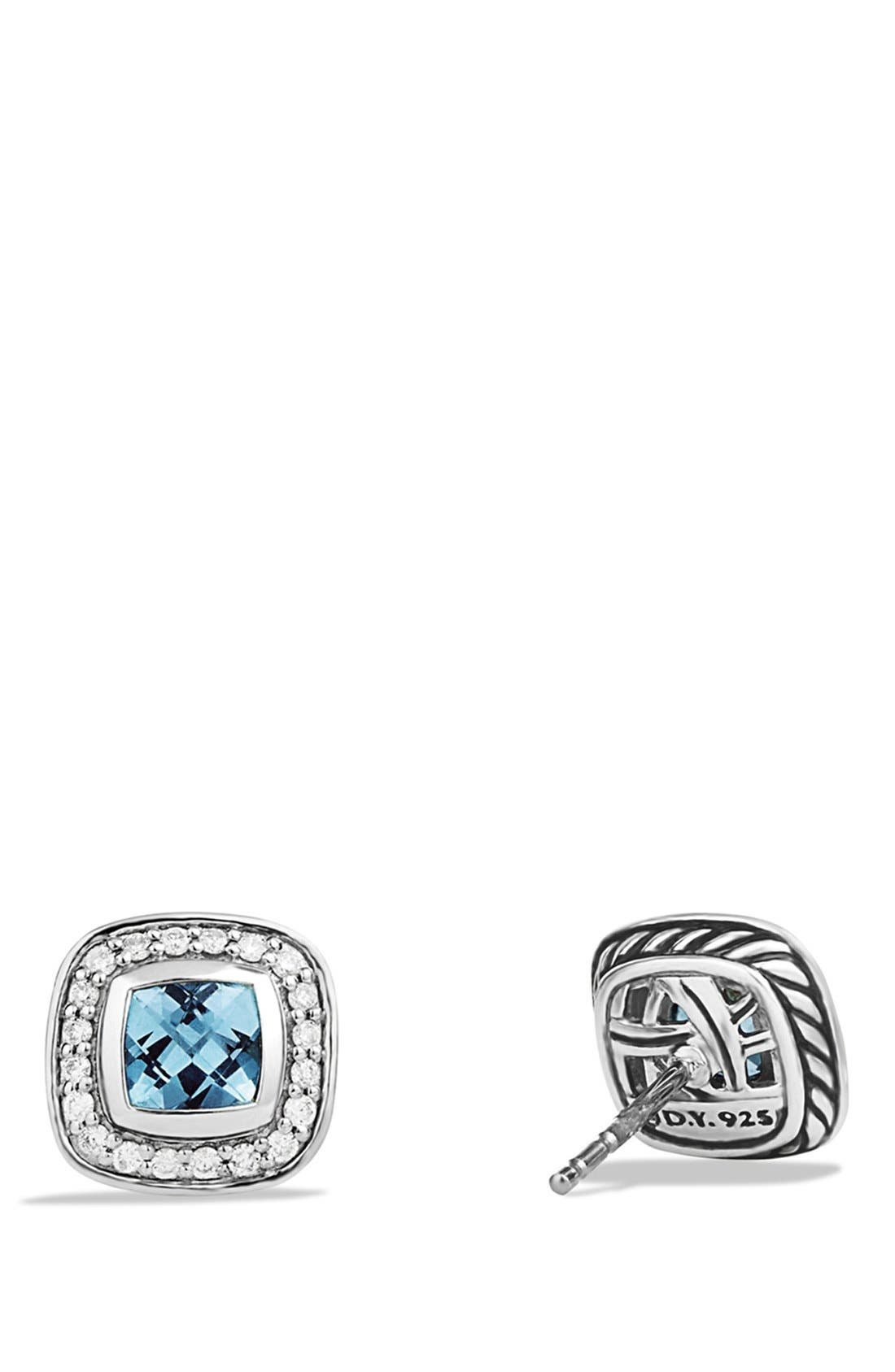'Albion' Petite Earrings with Diamonds,                             Alternate thumbnail 3, color,                             BLUE TOPAZ