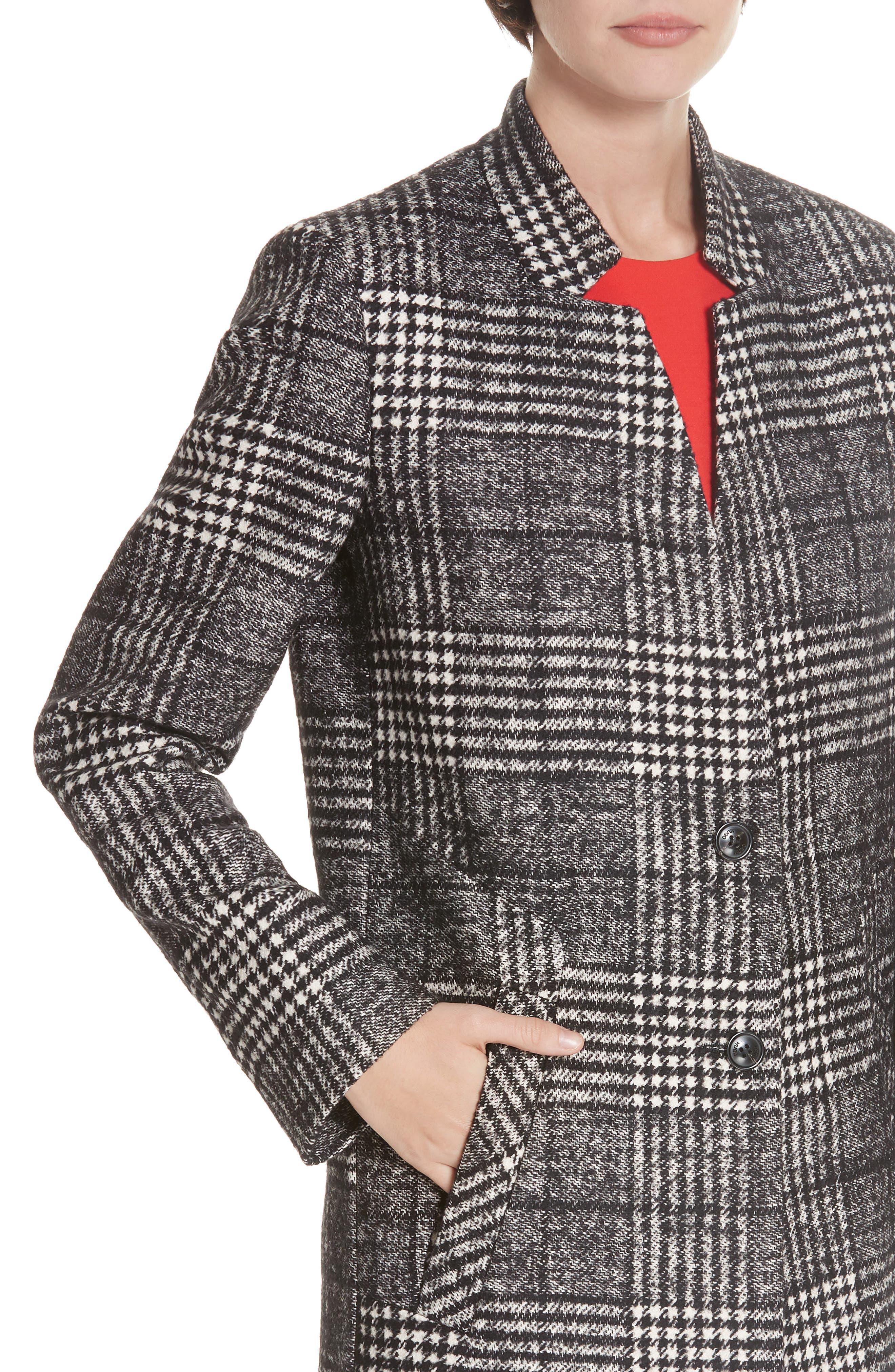 Magrete Bold Check Stretch Cotton Wool Coat,                             Alternate thumbnail 4, color,                             BLACK/ WHITE