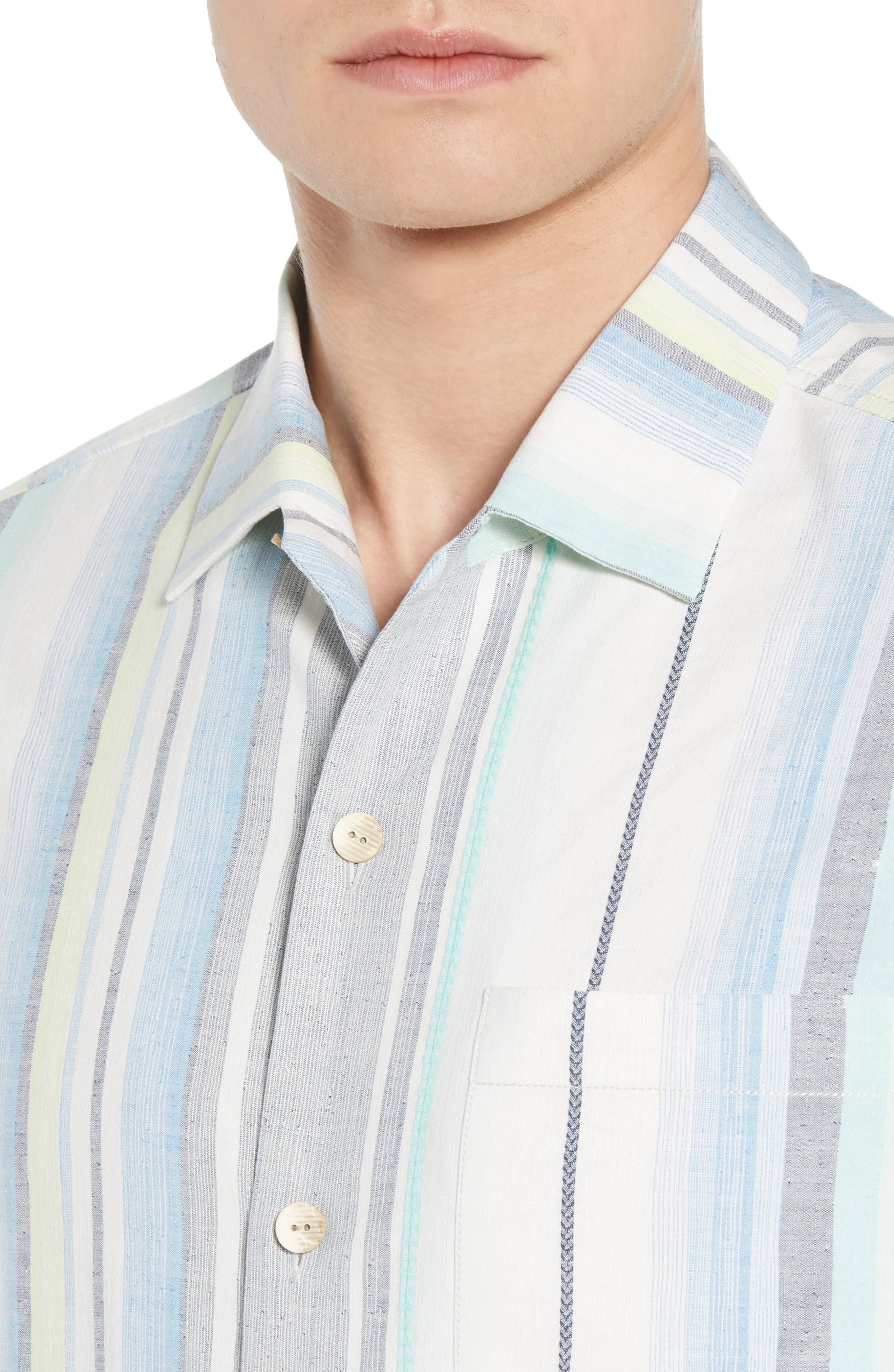 Posado Sands Silk Camp Shirt,                             Alternate thumbnail 4, color,                             BLUE ASTER