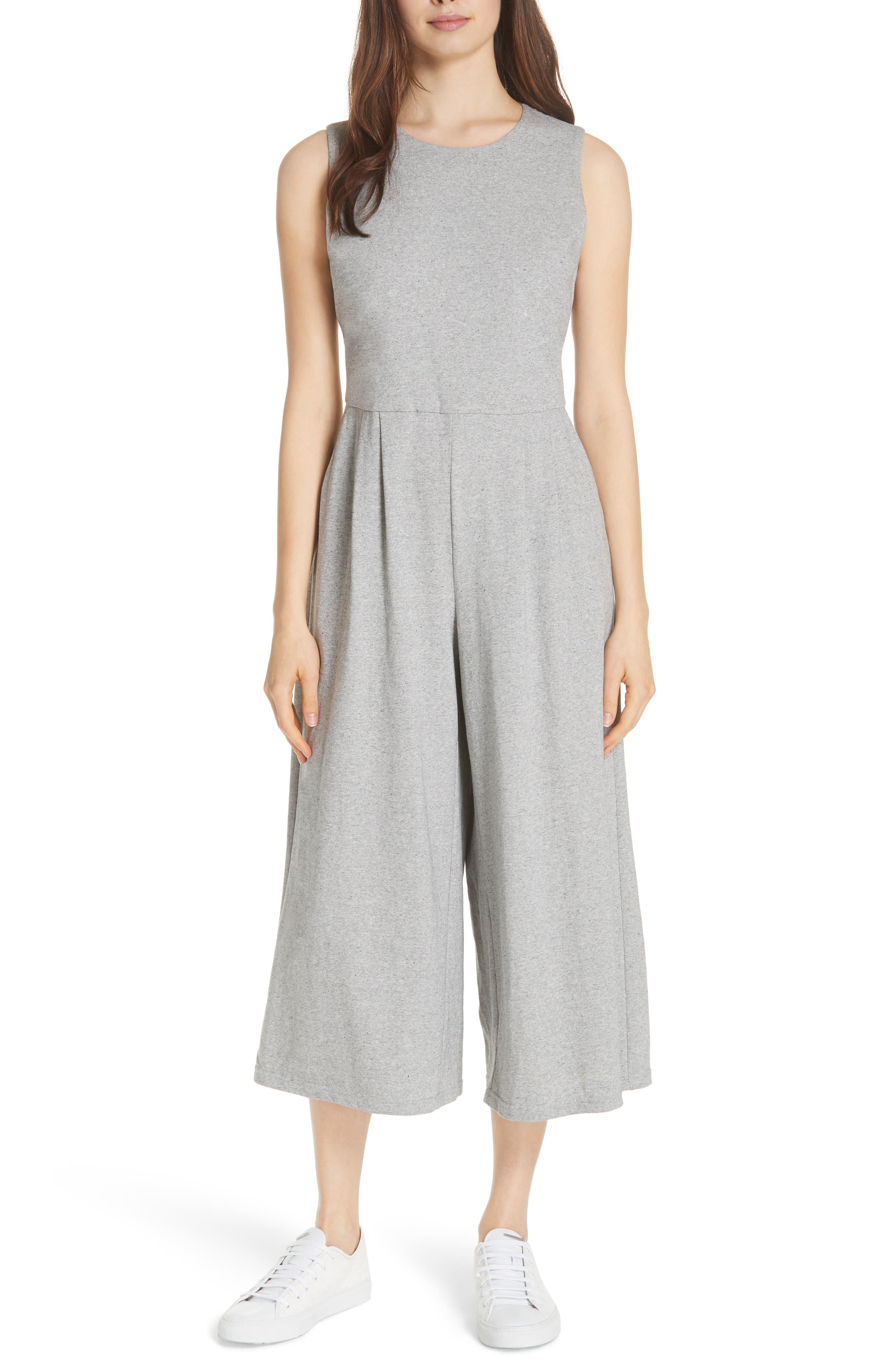 Crop Cotton Knit Jumpsuit,                             Main thumbnail 1, color,                             087