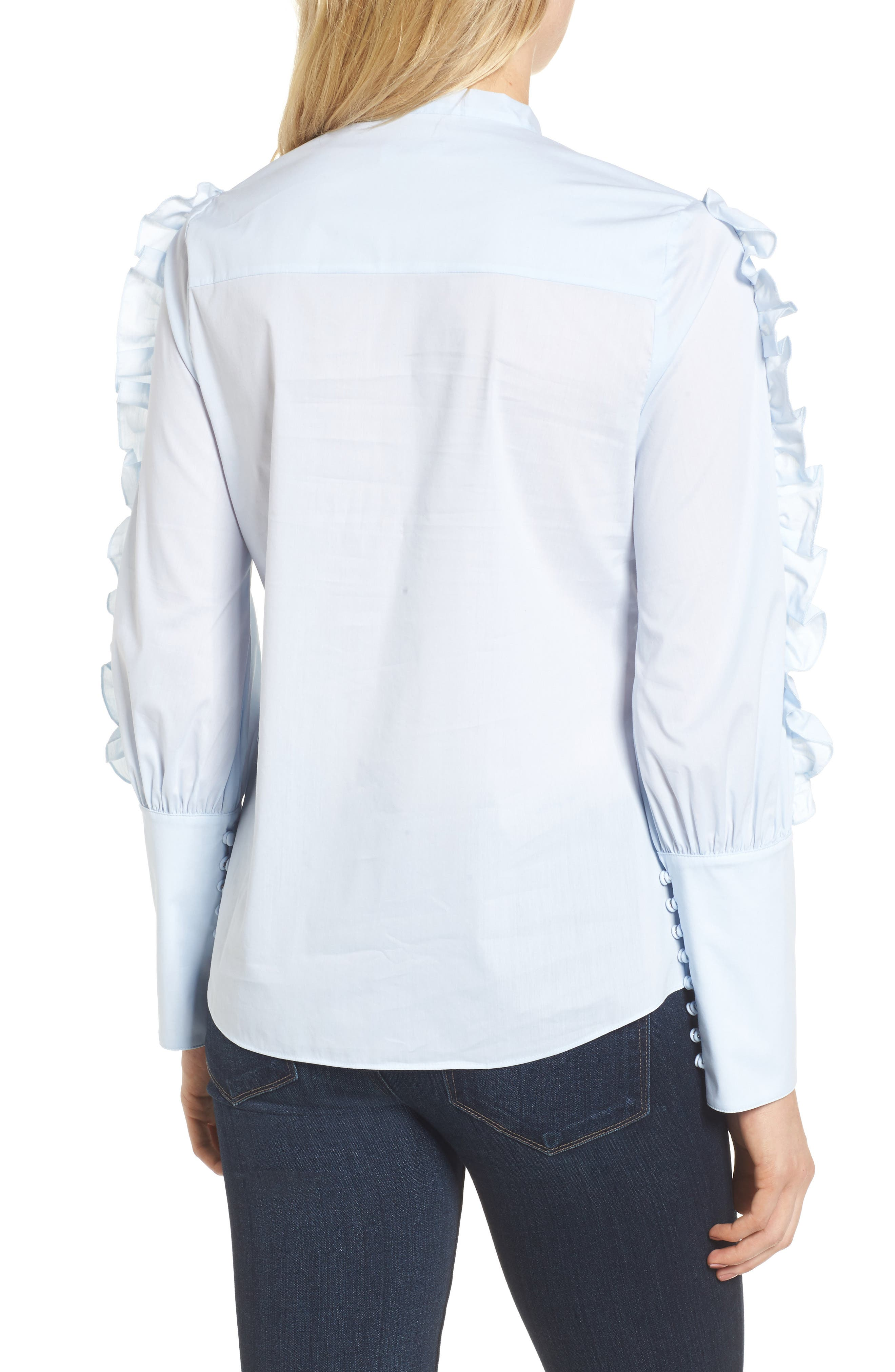 Ruffle Sleeve Poplin Blouse,                             Alternate thumbnail 2, color,                             450