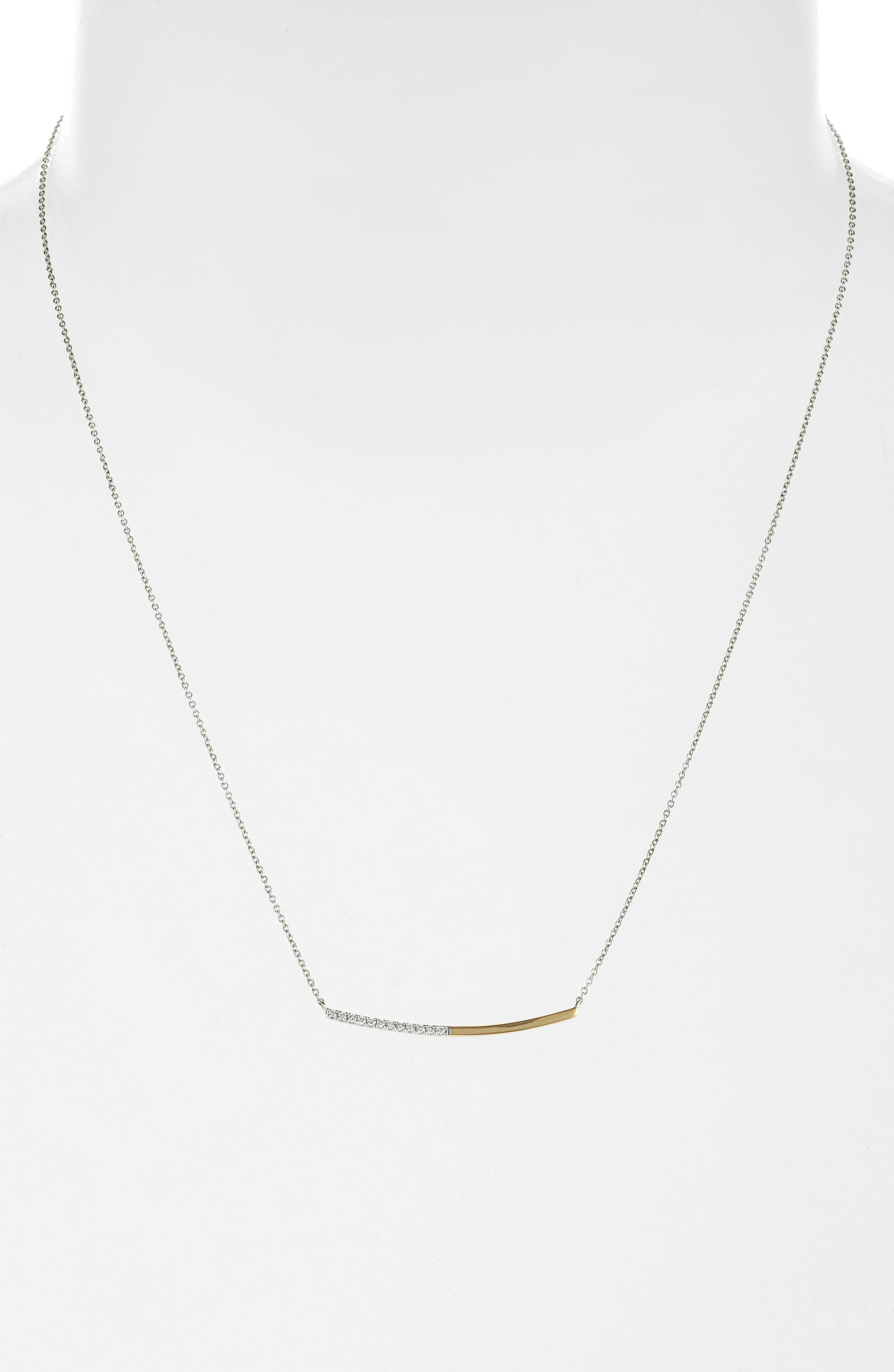 Two-Tone Curved Diamond Bar Neck,                             Alternate thumbnail 2, color,                             YELLOW GOLD/ WHITE GOLD