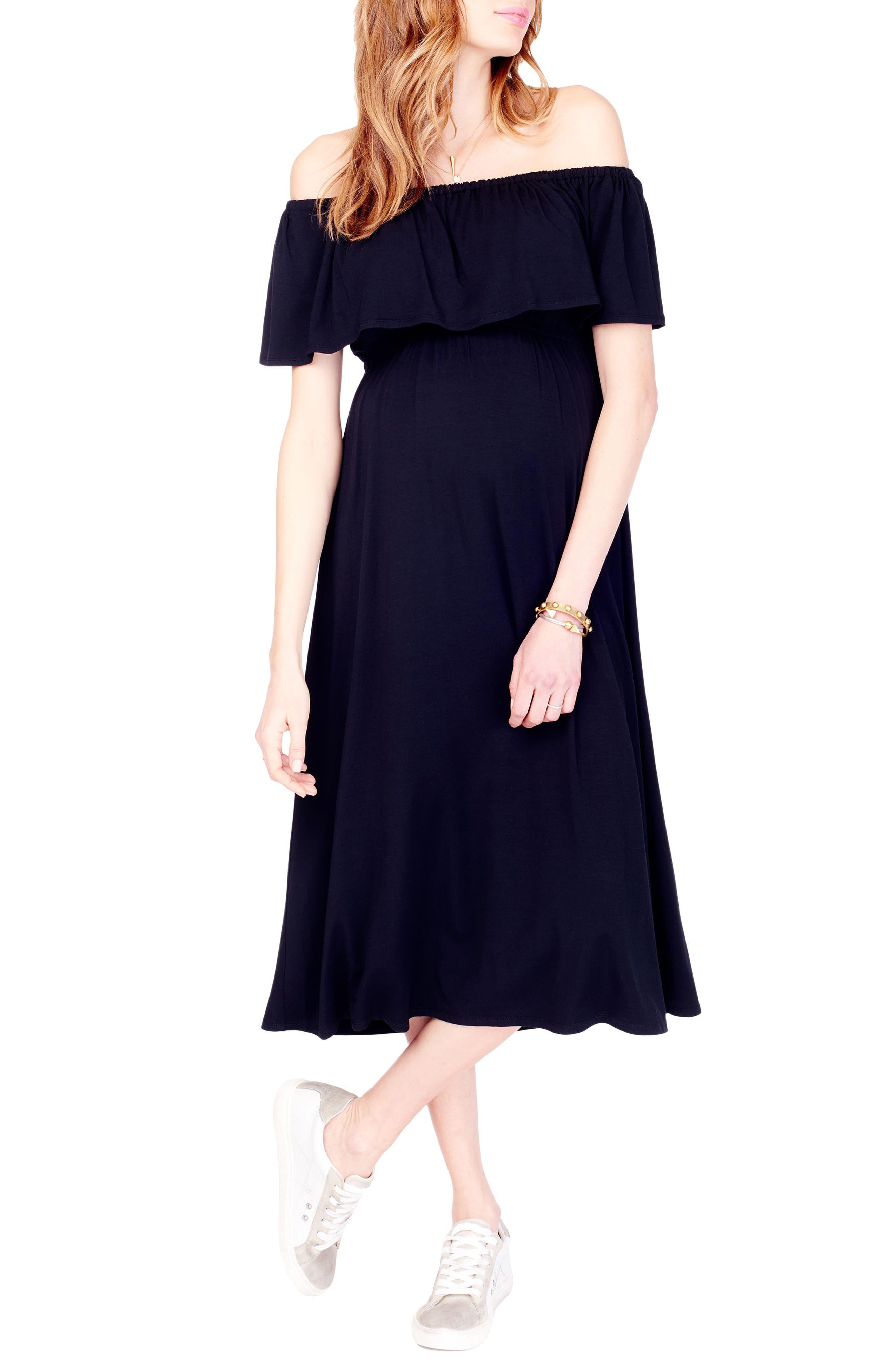 Off the Shoulder Maternity Midi Dress,                             Main thumbnail 1, color,                             JET BLACK