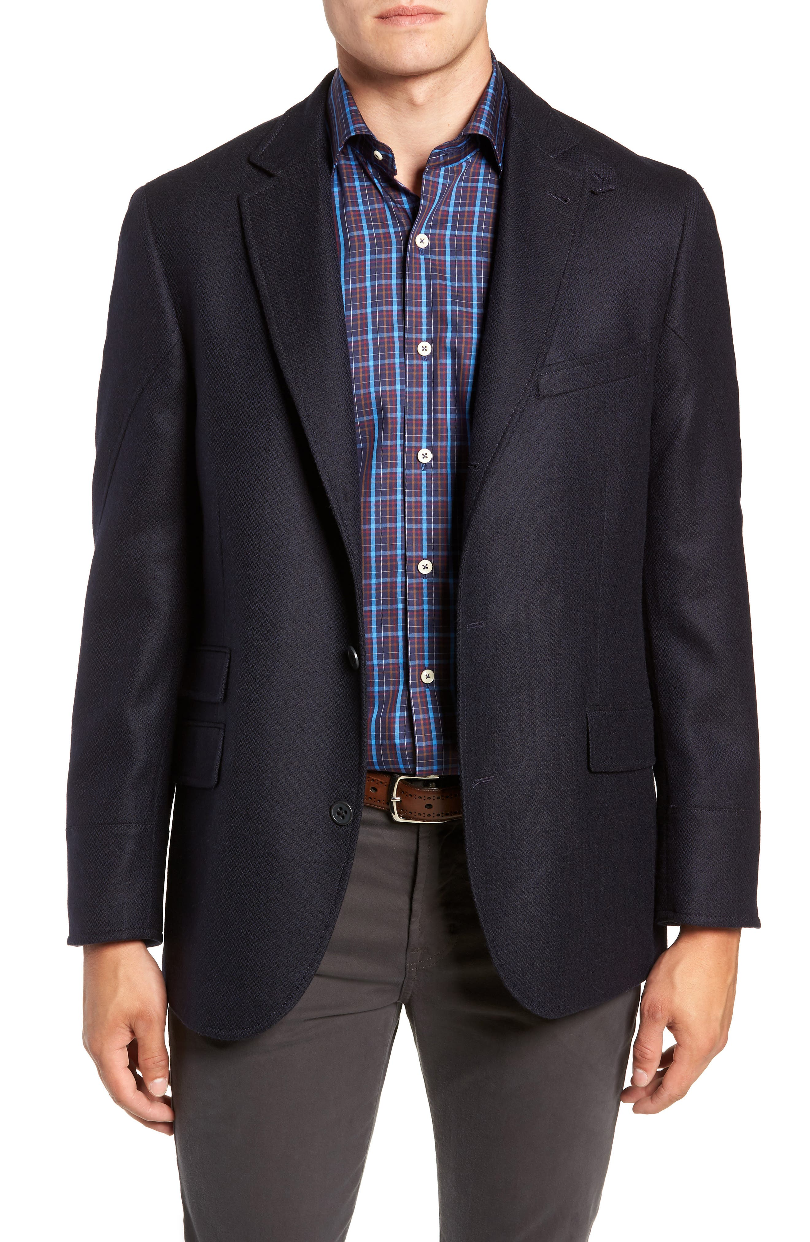 Regular Fit Wool & Cashmere Hybrid Sport Coat,                             Alternate thumbnail 4, color,                             NAVY