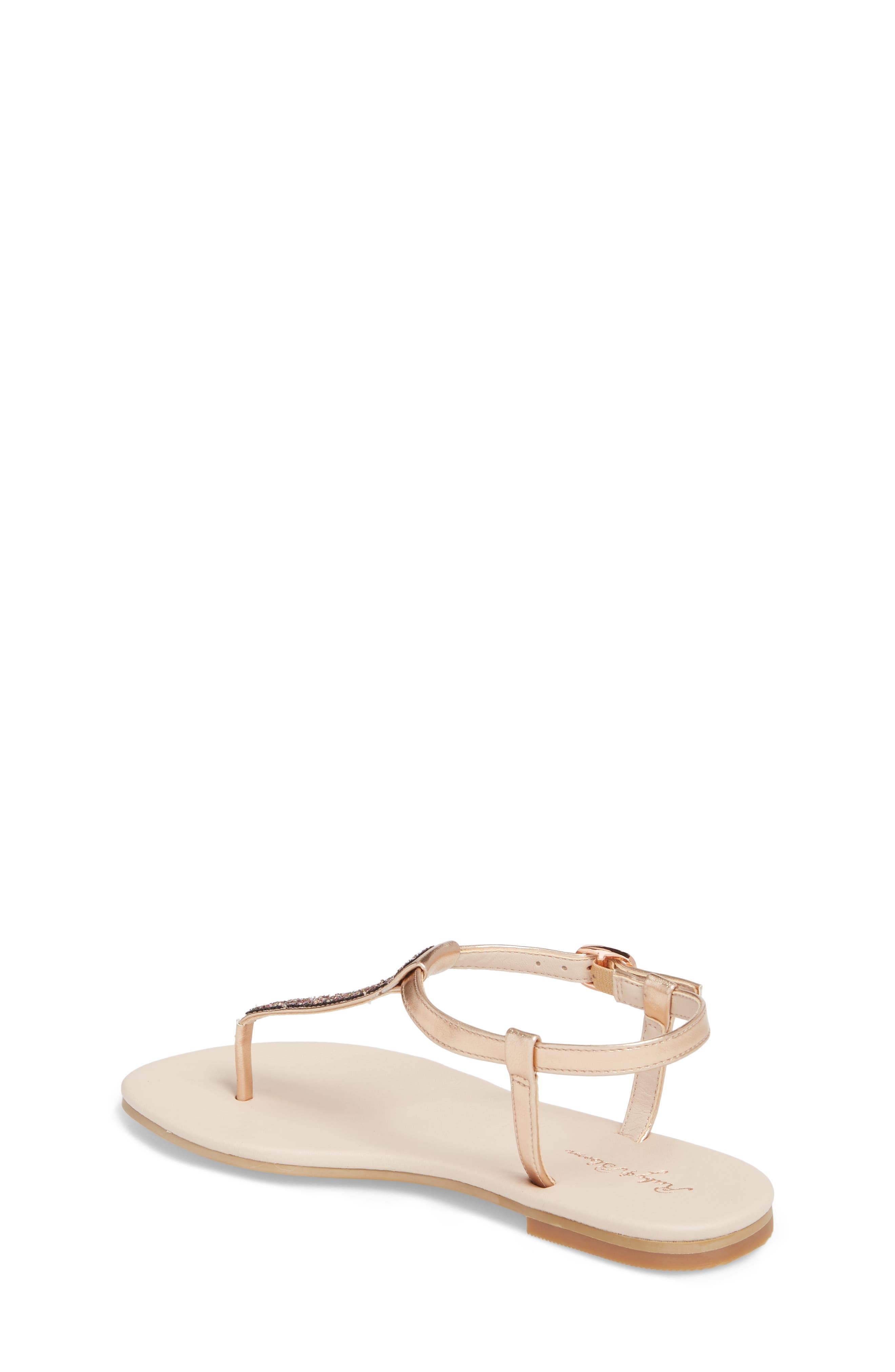 Noe Glitter T-Strap Sandal Sandal,                             Alternate thumbnail 2, color,                             ROSE GOLD FAUX LEA