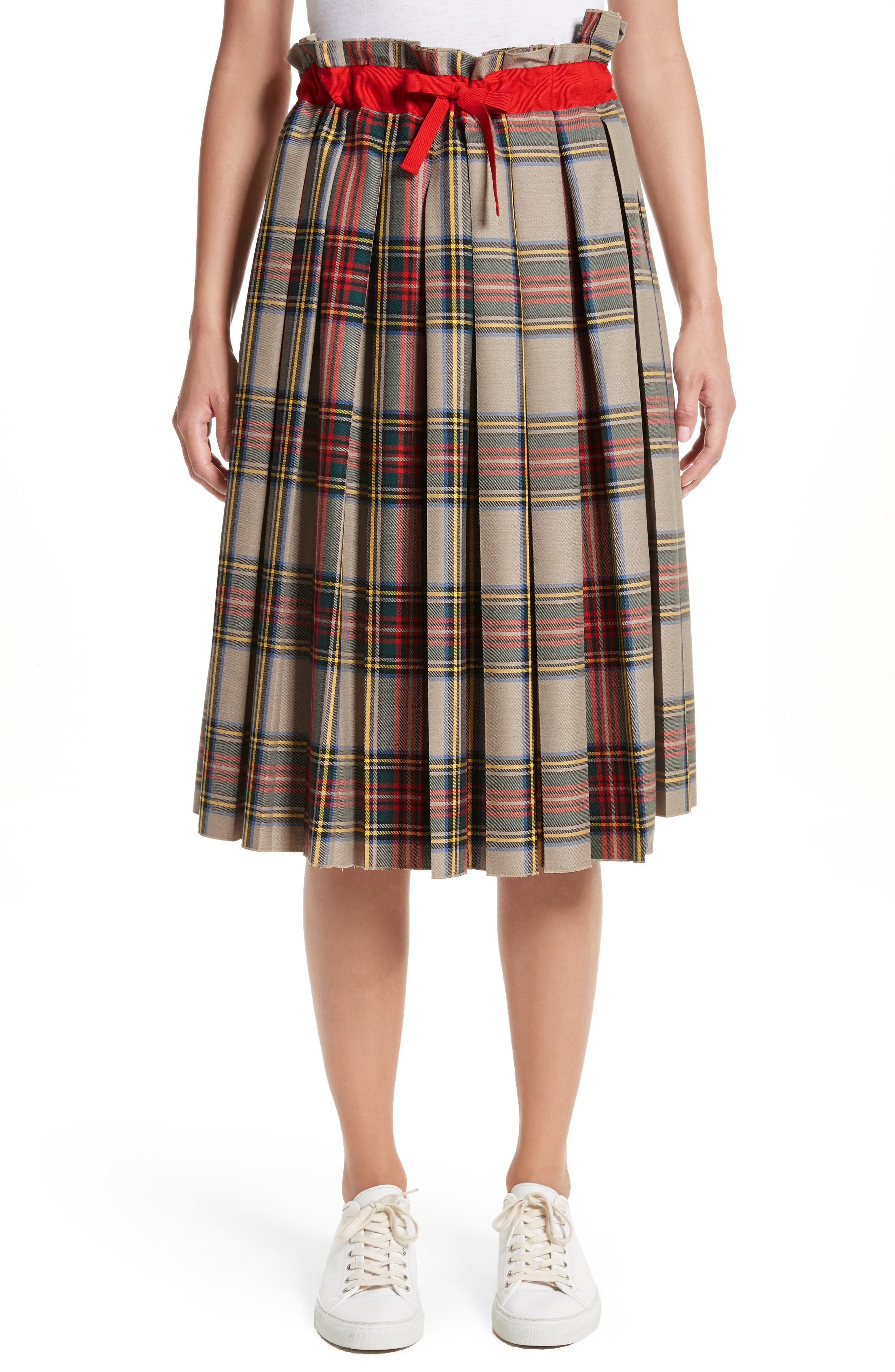 Pleated Technical Gabardine Skirt,                             Main thumbnail 1, color,                             250