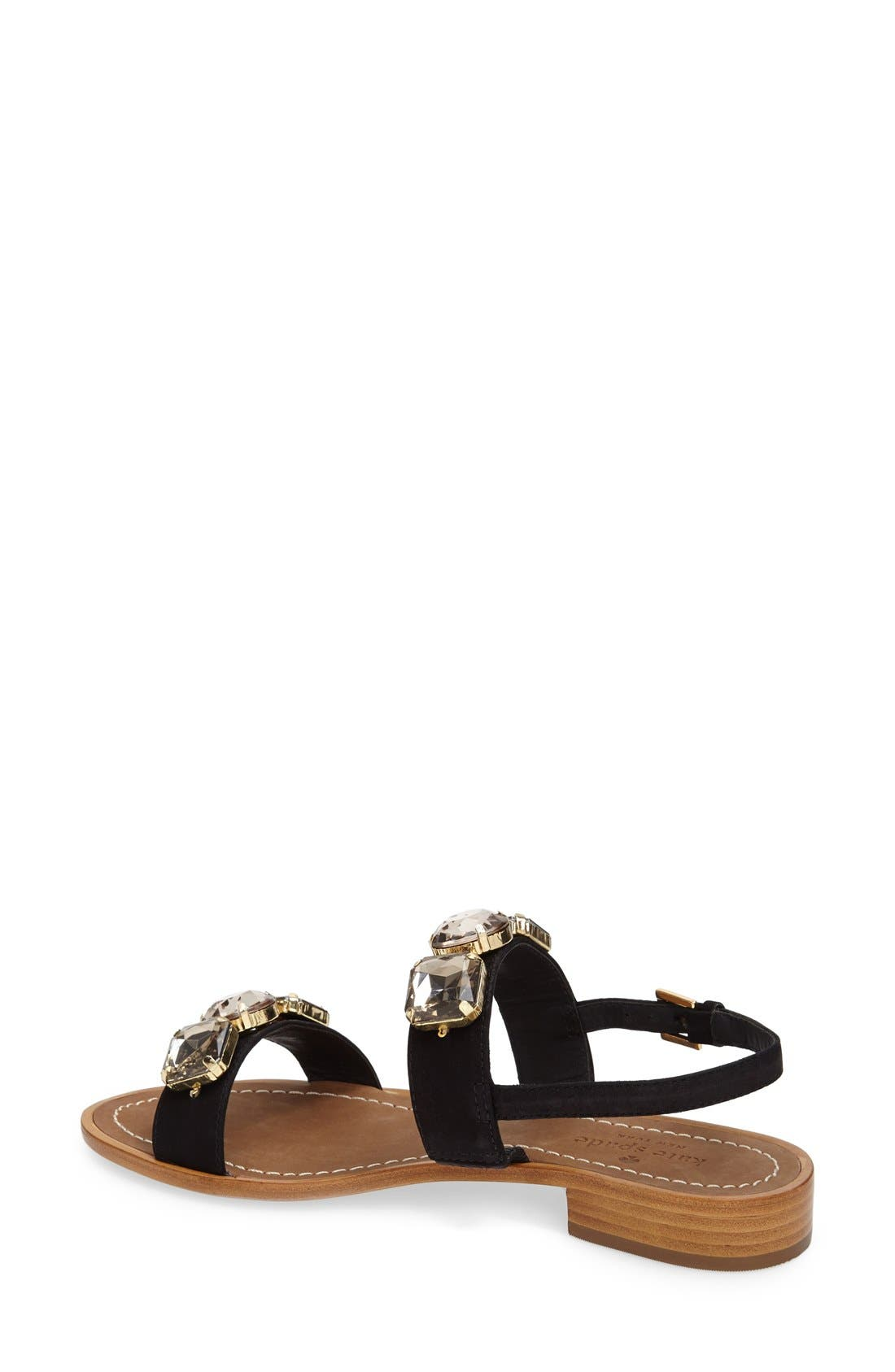 'bacau' ornate double band sandal,                             Alternate thumbnail 4, color,                             001