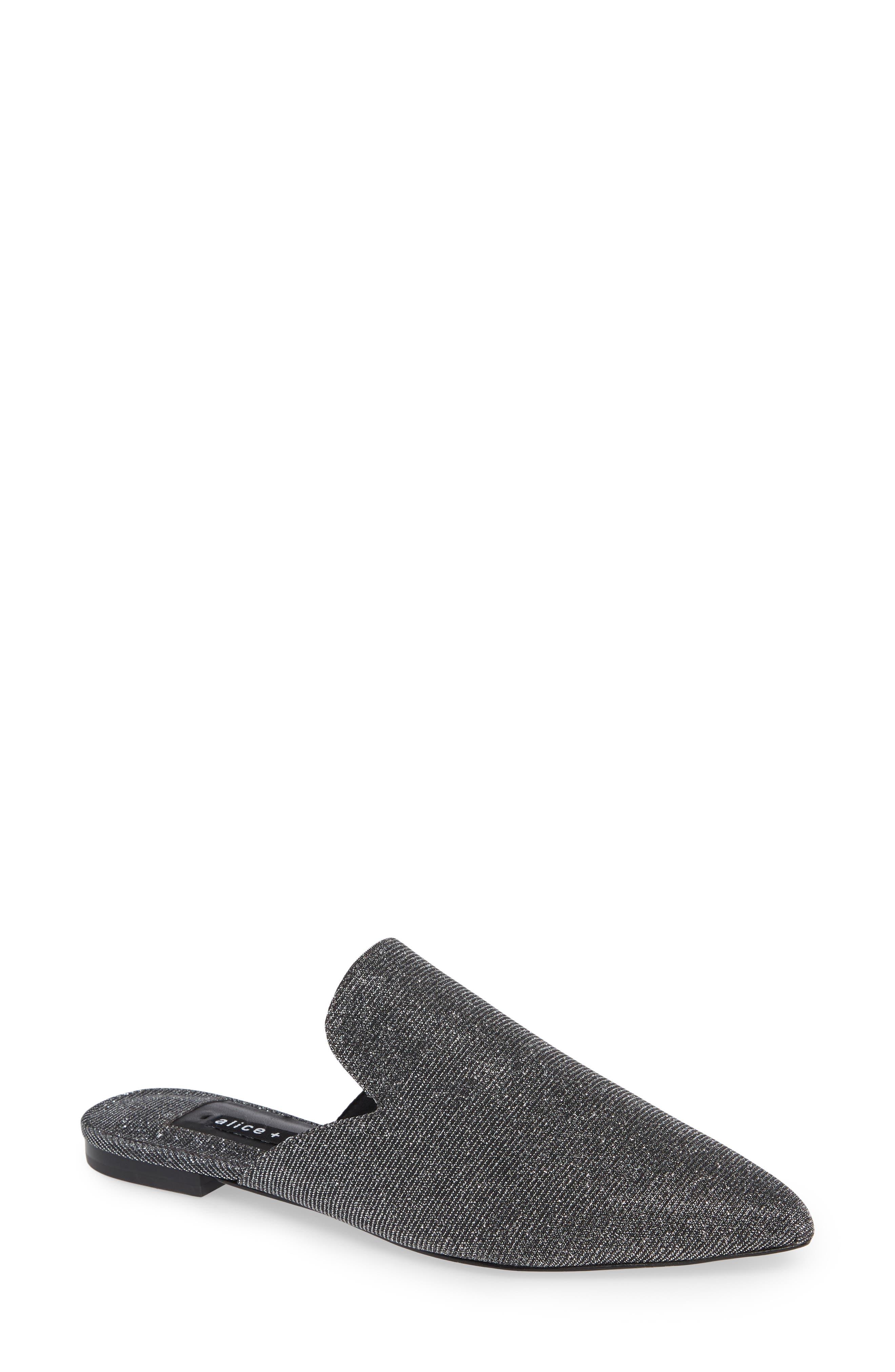 Madalyn Glitter Mules in Black/Silver Fabric