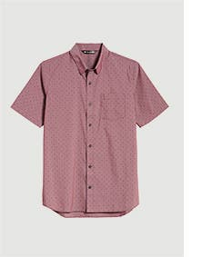 Red button-front shirt.