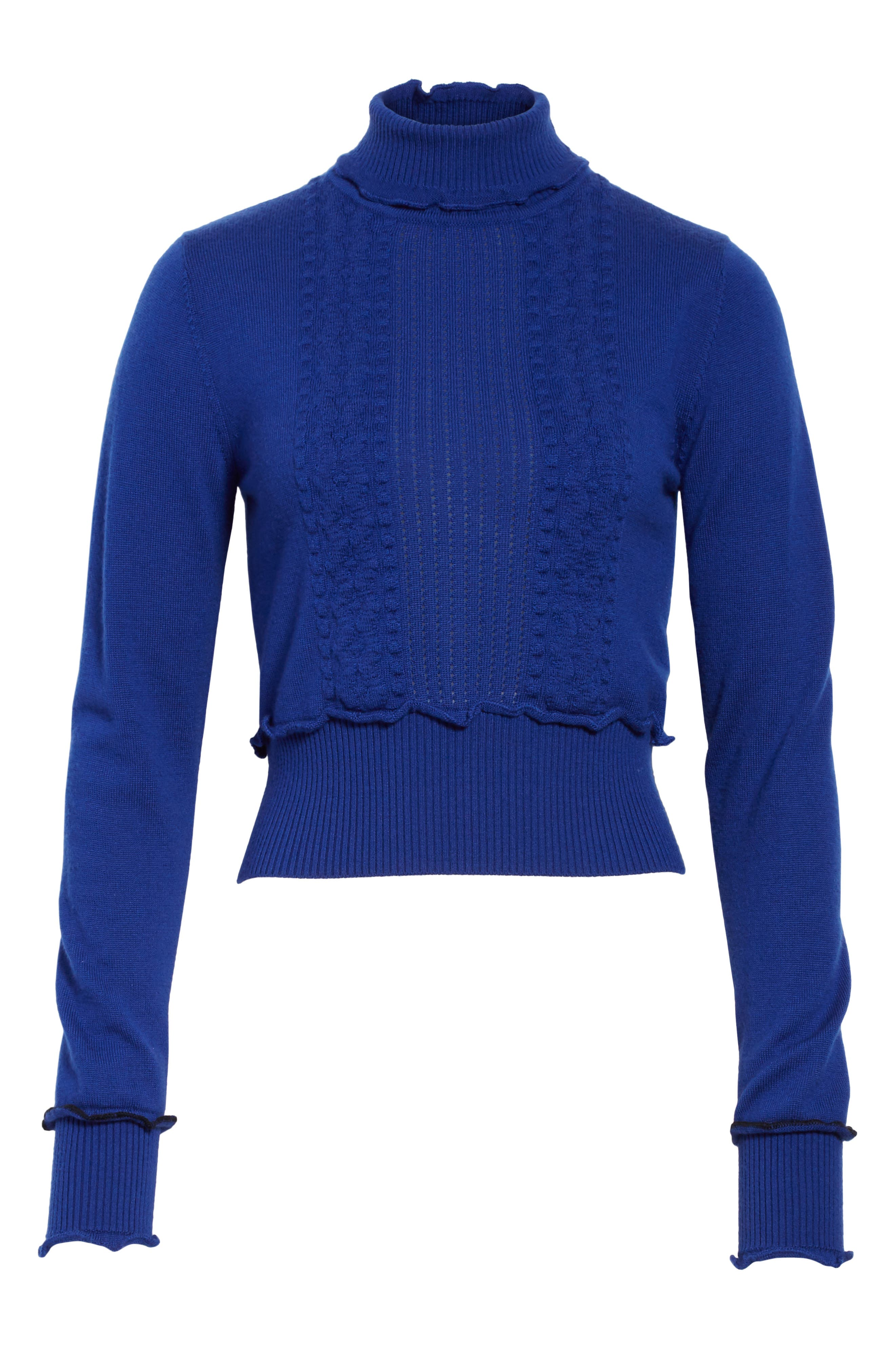 Puffy Cable Turtleneck Sweater,                             Alternate thumbnail 6, color,                             430