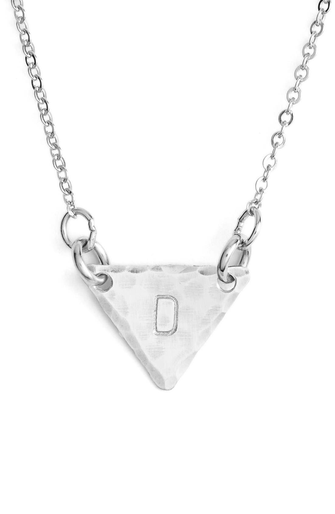 Sterling Silver Initial Mini Triangle Necklace,                             Main thumbnail 4, color,