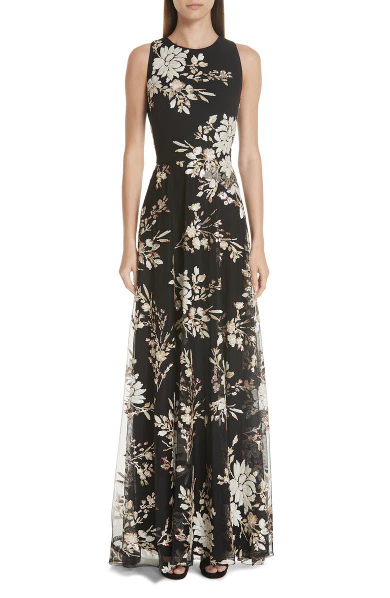 Carmen Marc Valvo Sequin Floral Gown | Nordstrom