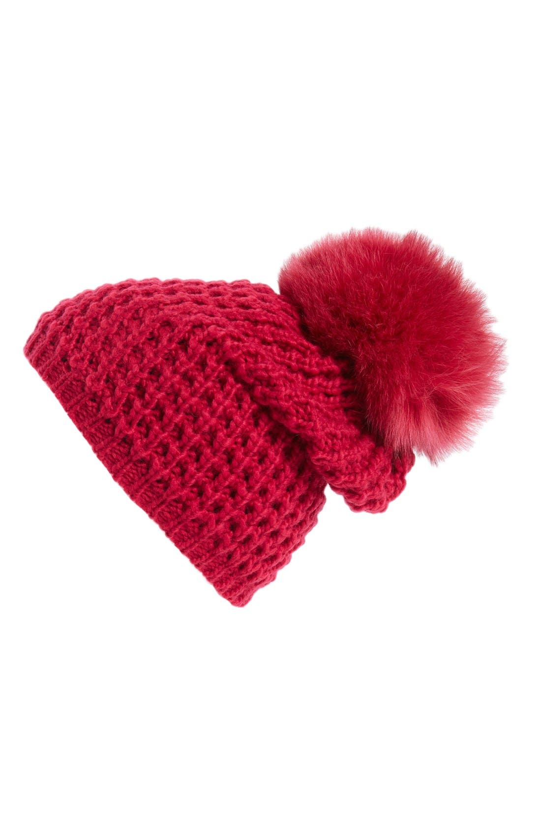 Genuine Fox Pompom Hat,                             Main thumbnail 17, color,