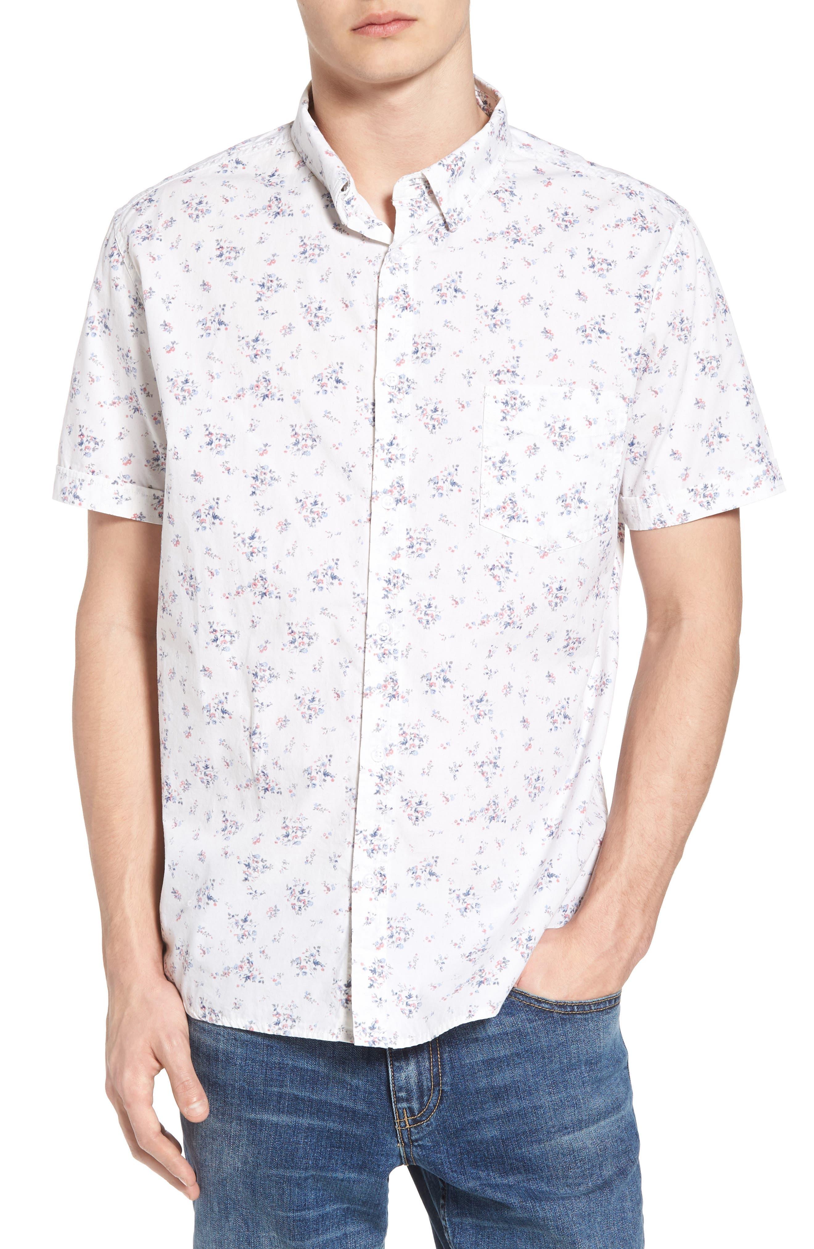 Carson Slim Fit Floral Print Sport Shirt,                         Main,                         color, 100