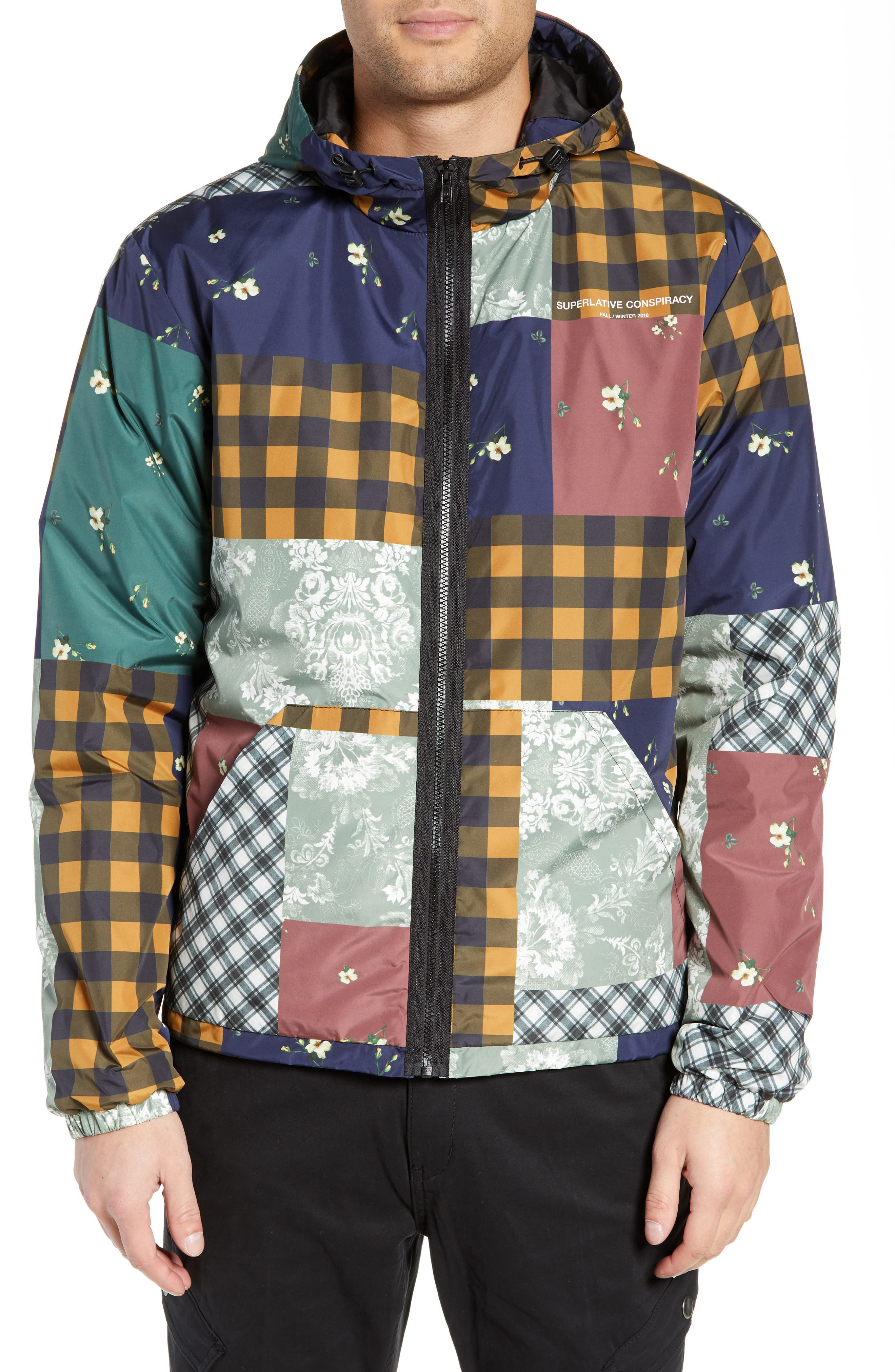 WESC,                             Patchwork Print Windbreaker,                             Alternate thumbnail 4, color,                             400