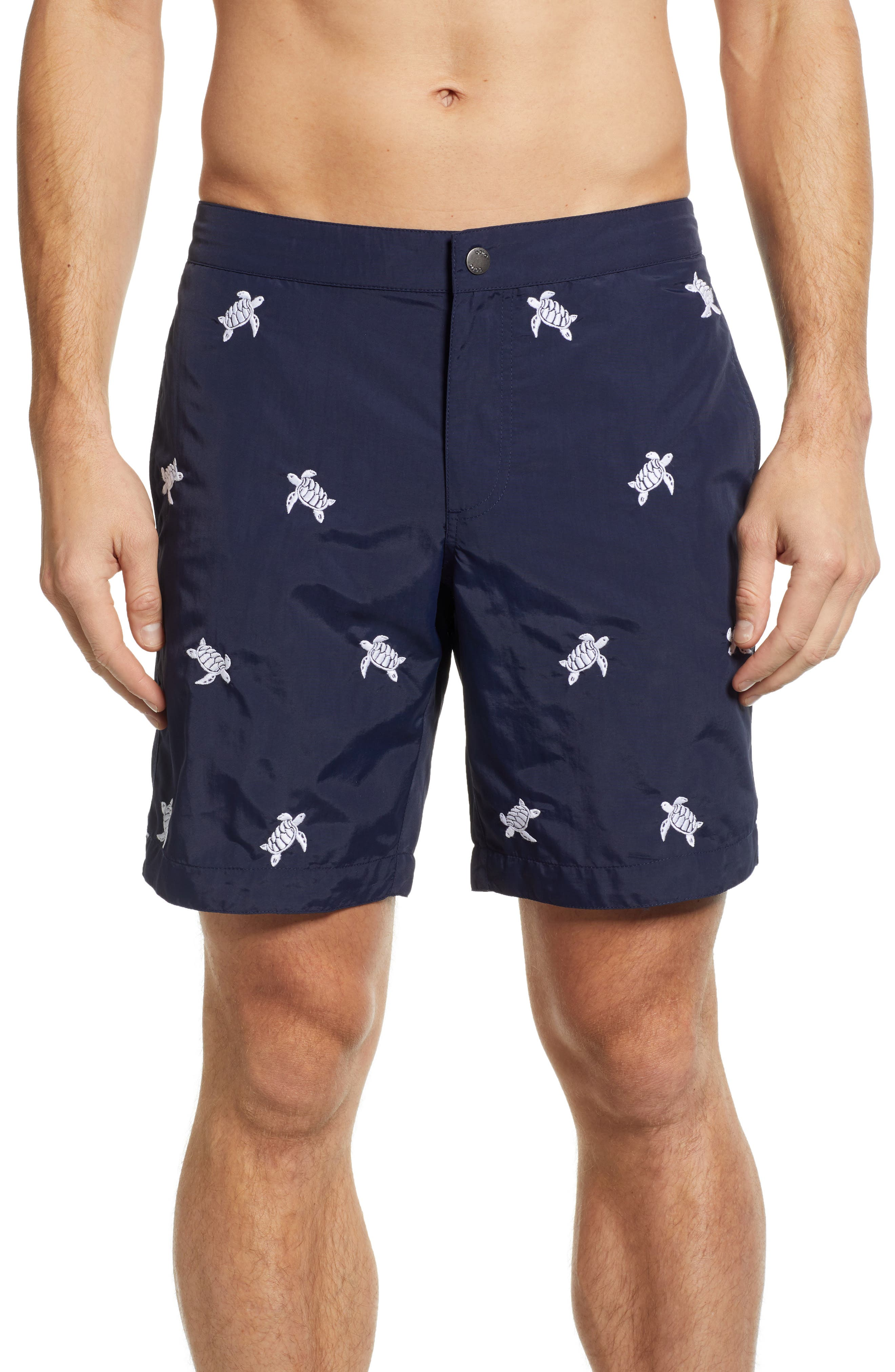 Aruba Embroidered 8.5 Inch Swim Trunks,                         Main,                         color, NAVY EMBROIDERED TURTLES