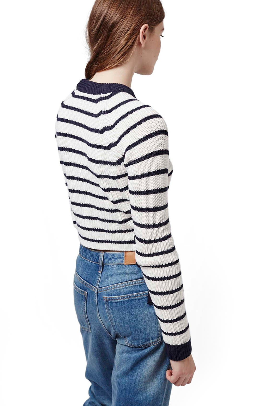 Lace-Up Crop Sweater,                             Alternate thumbnail 5, color,                             410