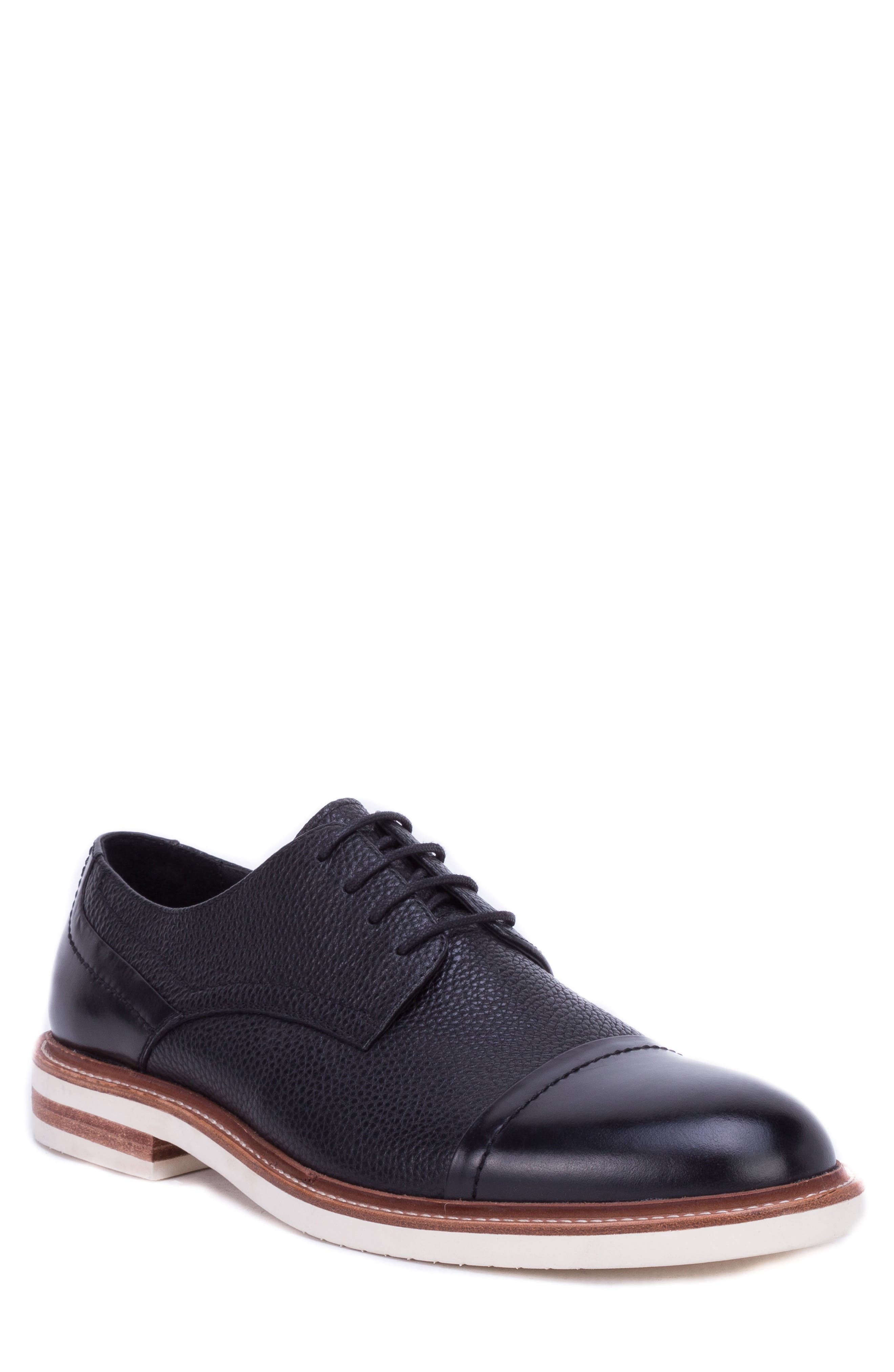Wensley Cap Toe Derby,                             Main thumbnail 1, color,                             BLACK LEATHER