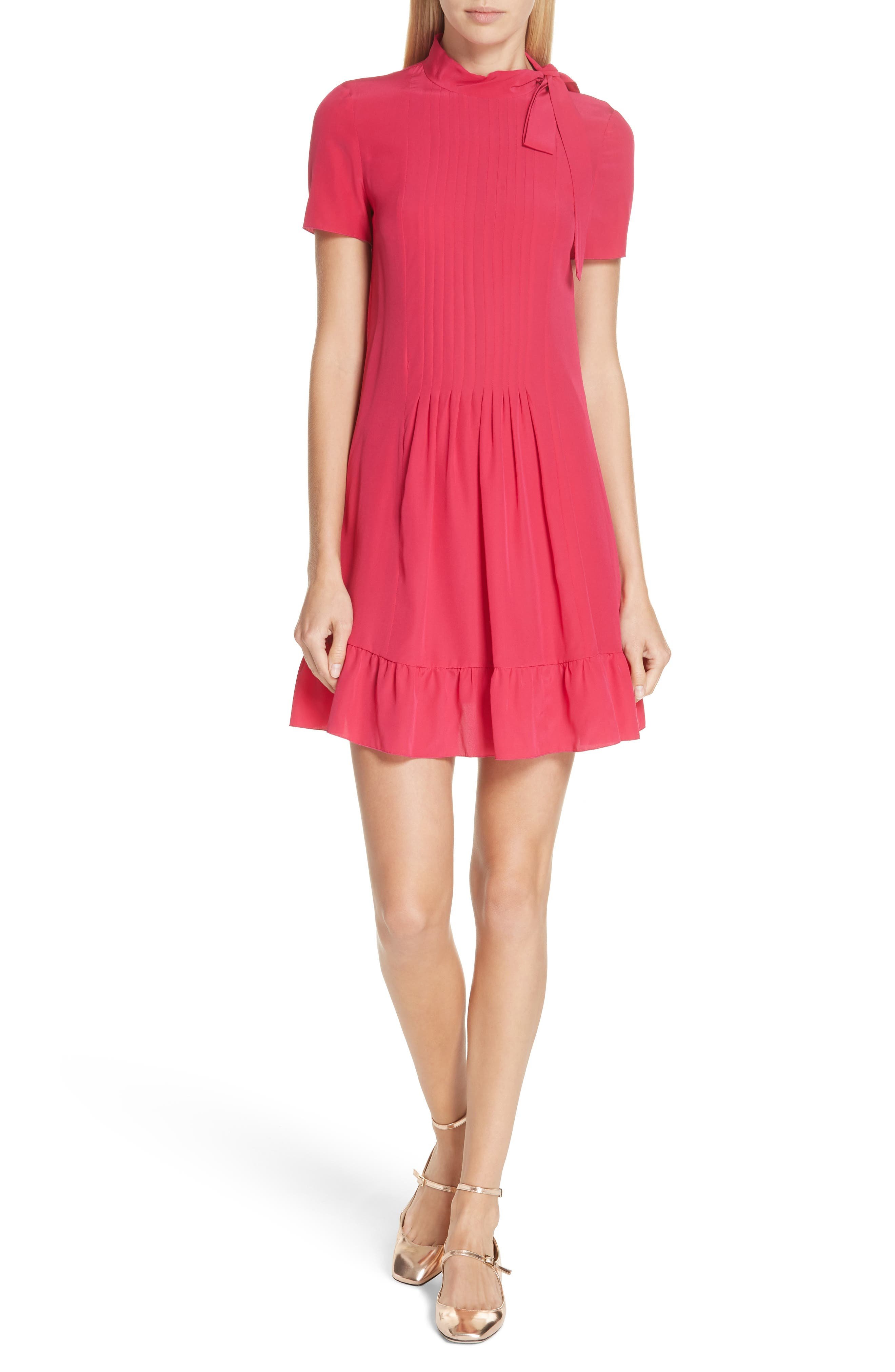 RED VALENTINO Tie Neck Pleated Silk Dress, Main, color, 600