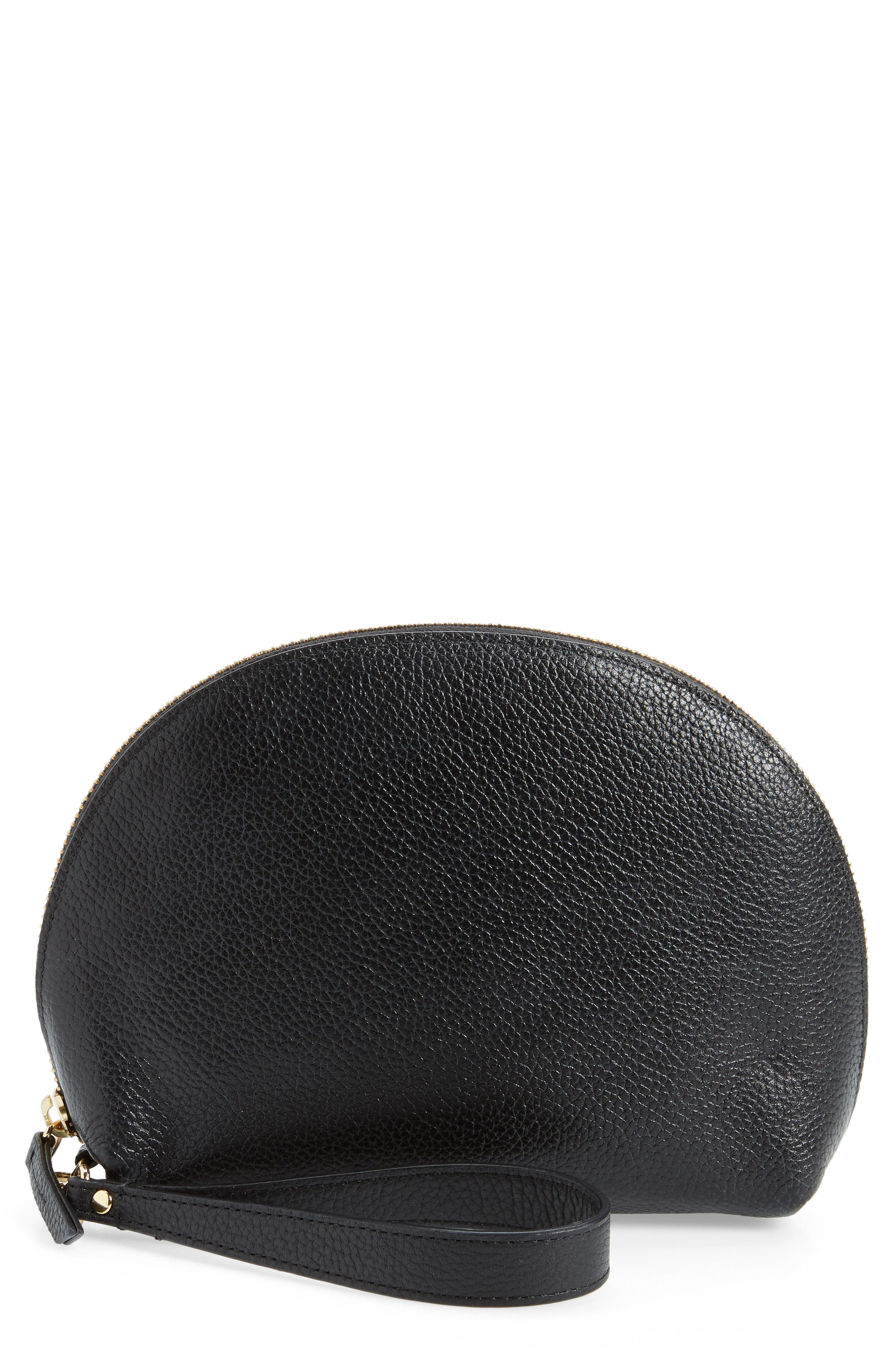 Sophia Leather Wristlet,                             Main thumbnail 1, color,                             001