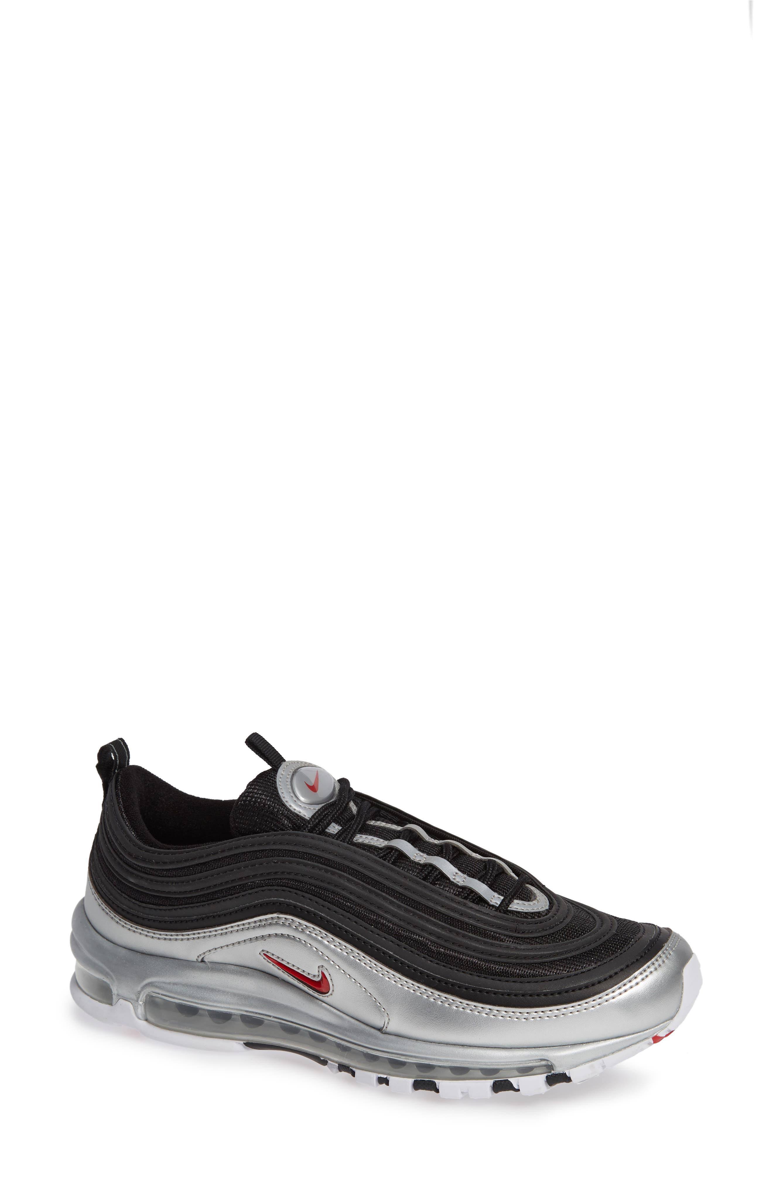 Air Max 97 QS Sneaker,                             Main thumbnail 1, color,                             BLACK/ VARSITY RED/ SILVER