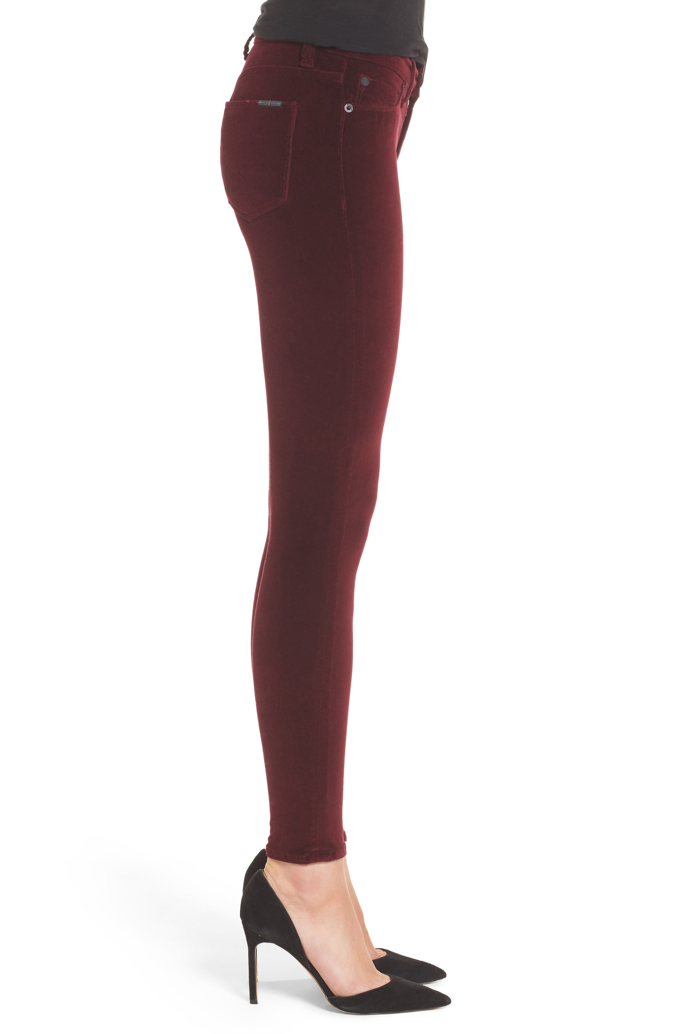 Nico Ankle Skinny Velvet Pants,                             Alternate thumbnail 6, color,