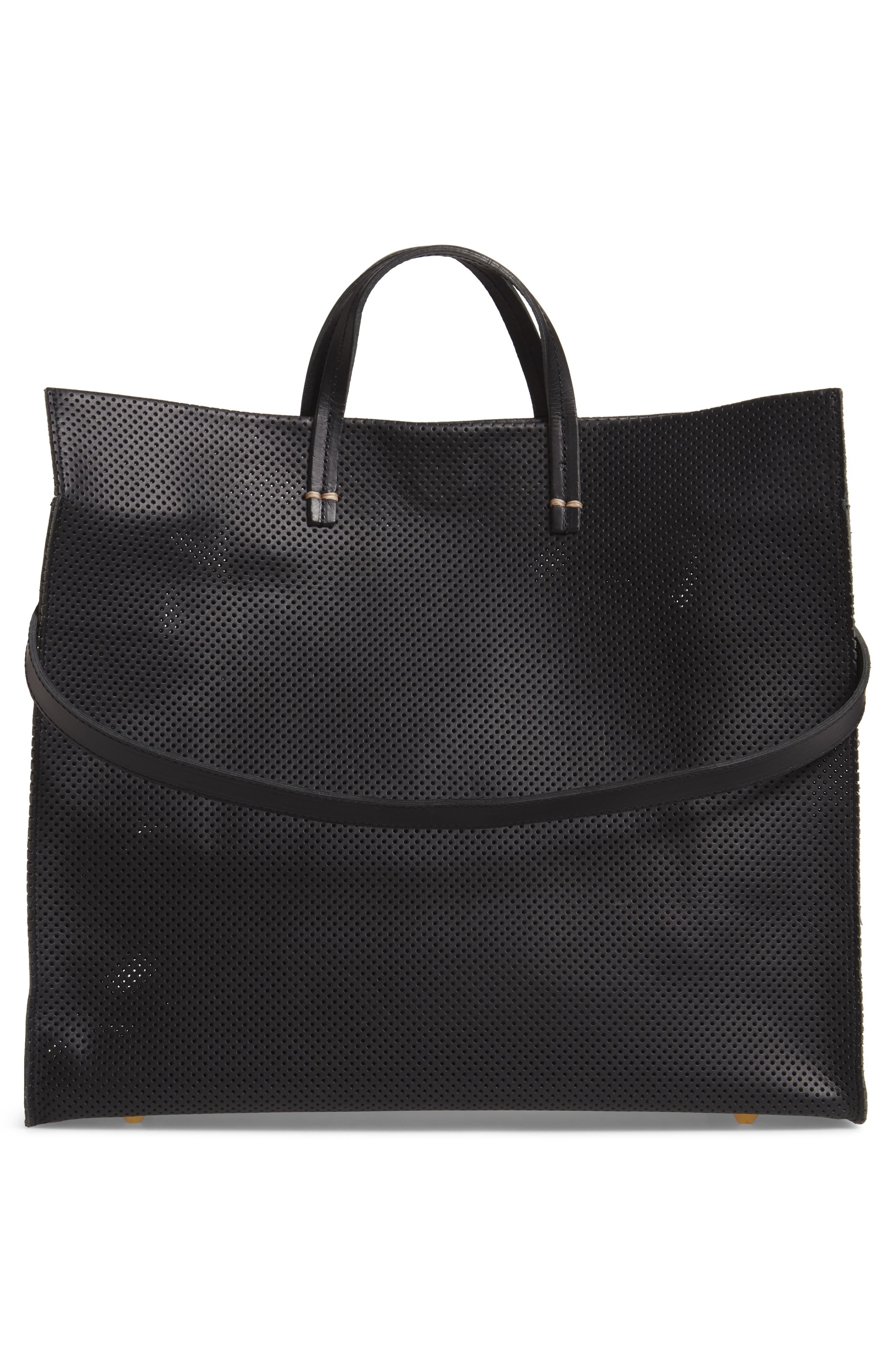Simple Perforated Leather Tote,                             Alternate thumbnail 3, color,                             BLACK PERF