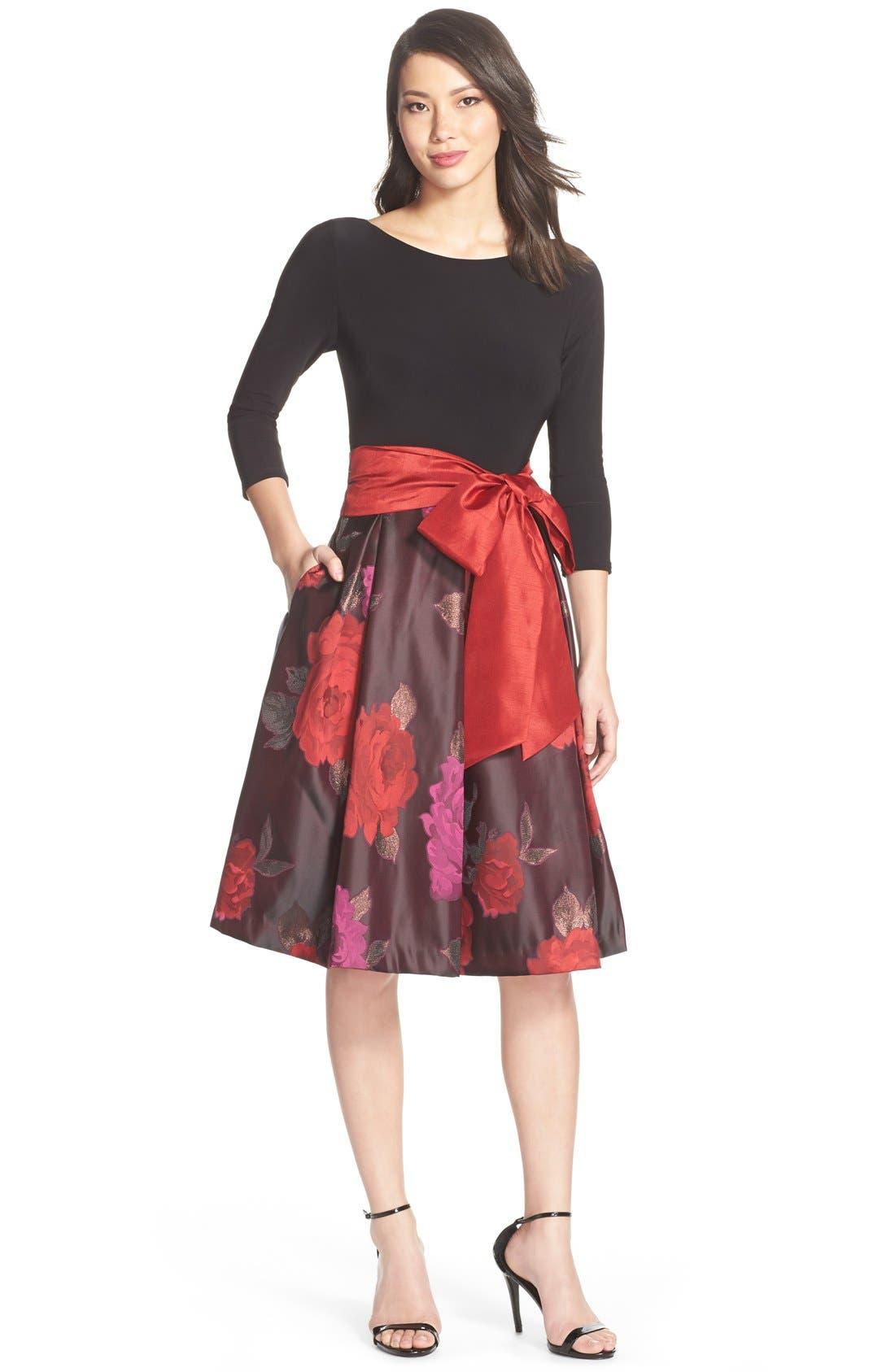 Floral Jacquard Fit & Flare Dress,                             Alternate thumbnail 2, color,                             014