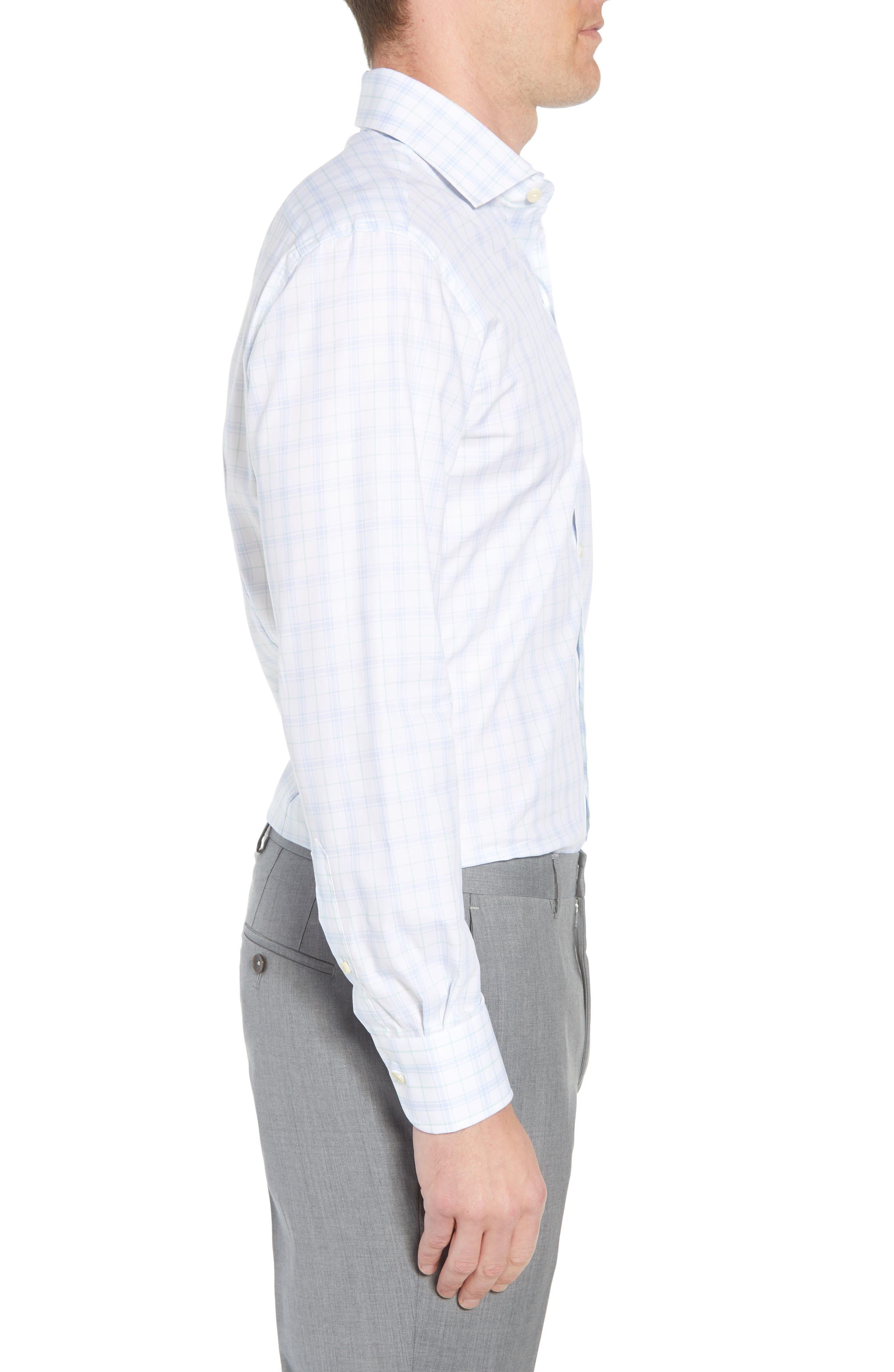 Lymann Trim Fit Plaid Dress Shirt,                             Alternate thumbnail 4, color,                             410