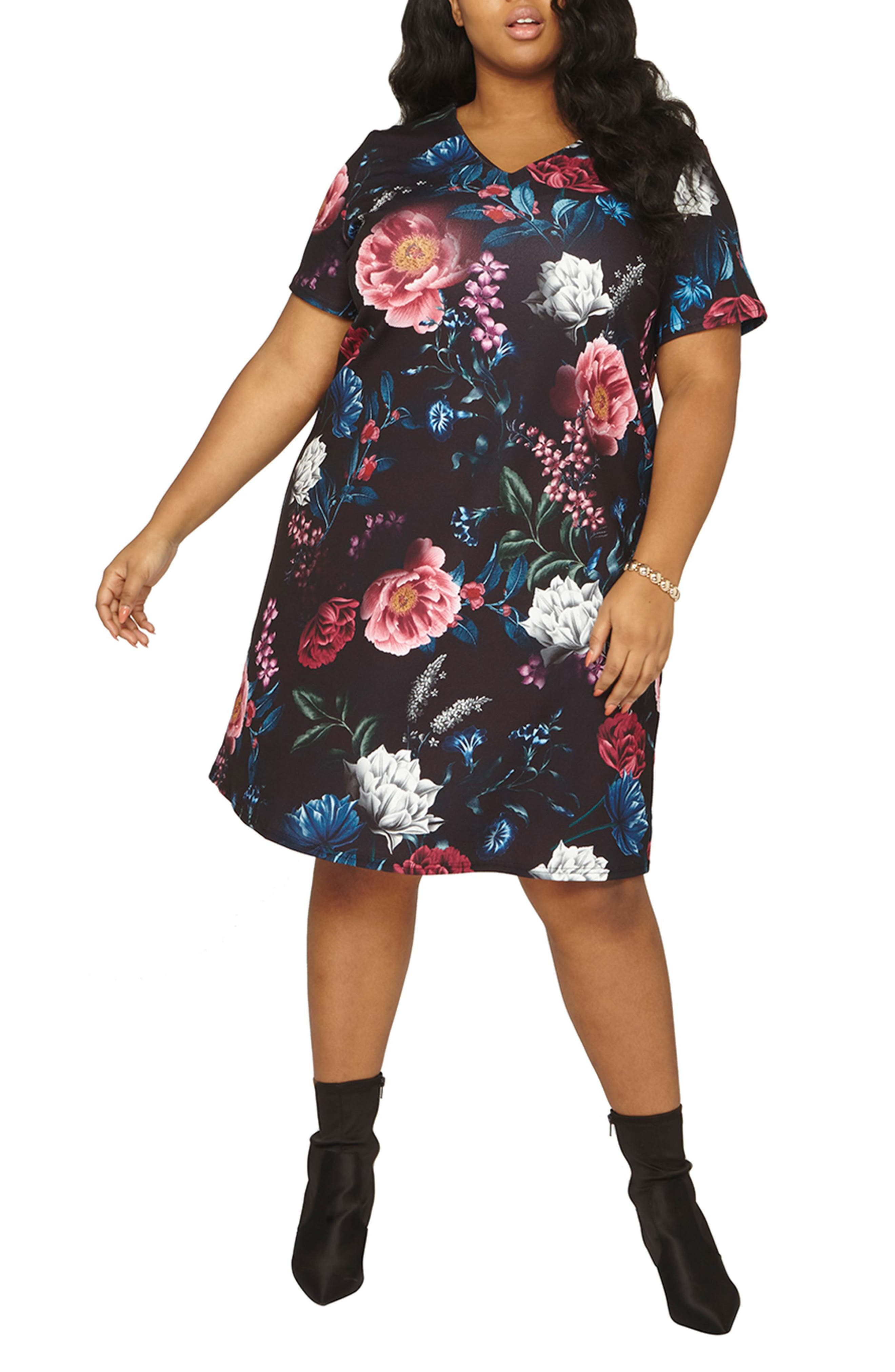 Floral Print Shift Dress,                             Main thumbnail 1, color,                             001