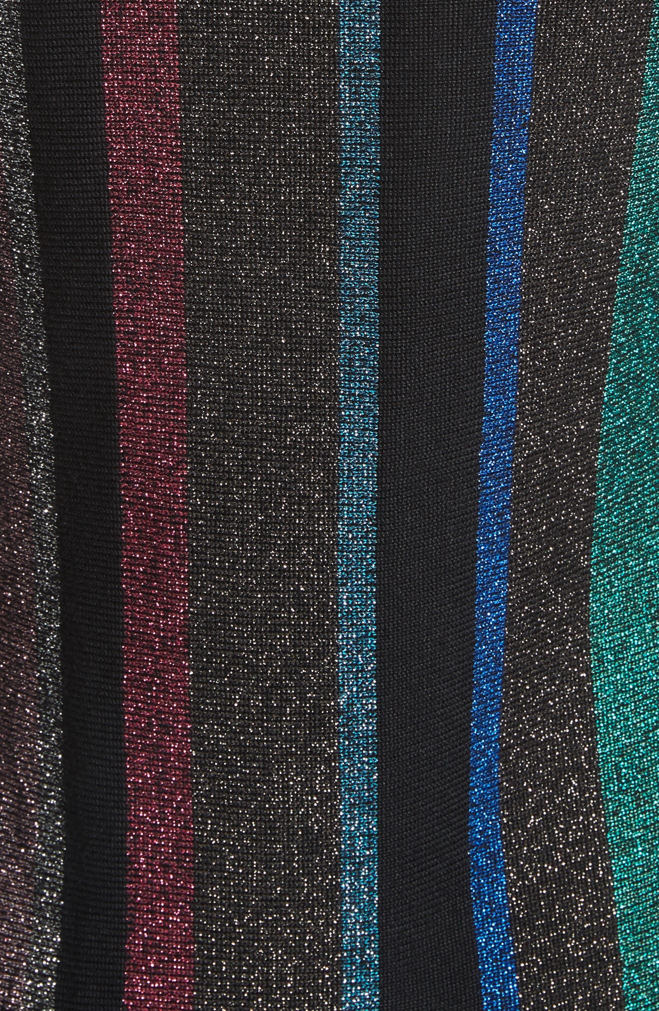 Metallic Stripe Body-Con Dress,                             Alternate thumbnail 5, color,                             001